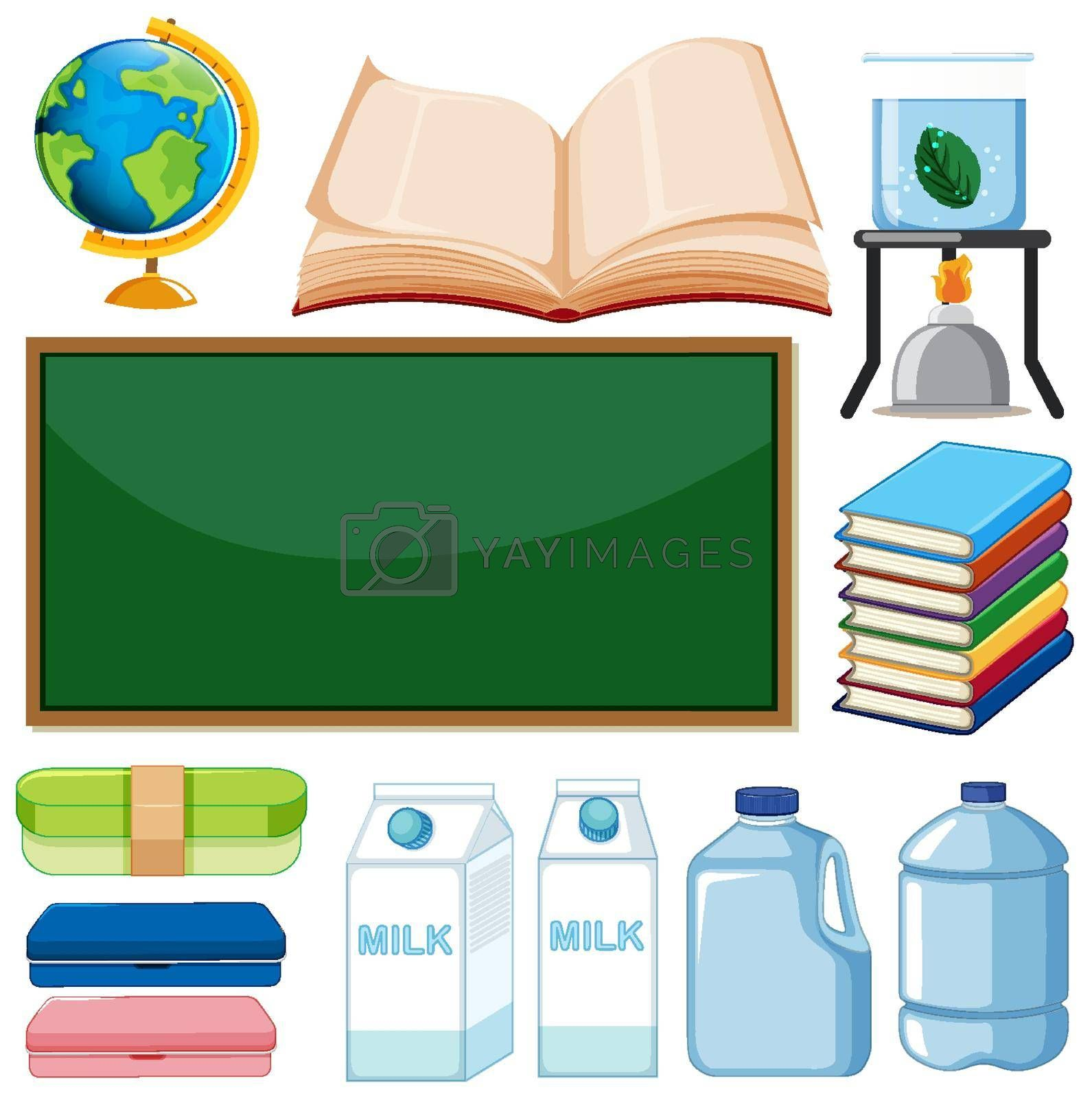 Set of school items on white background illustration