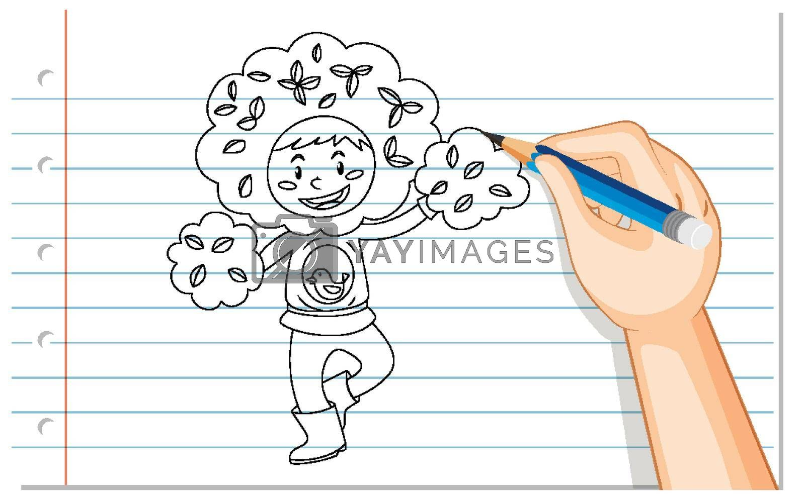 Hand drawing of boy in tree costume outline illustration