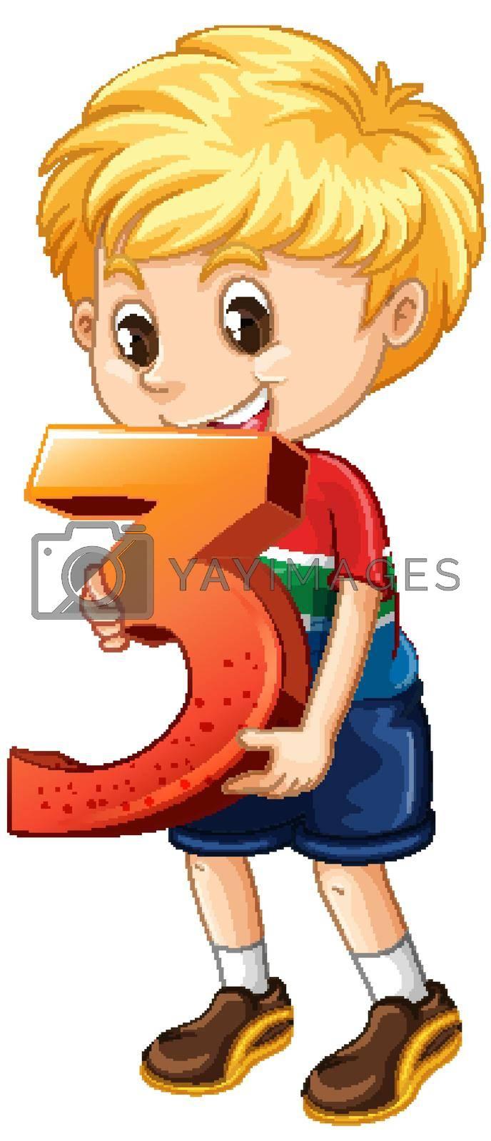 Blonde boy holding math number three illustration