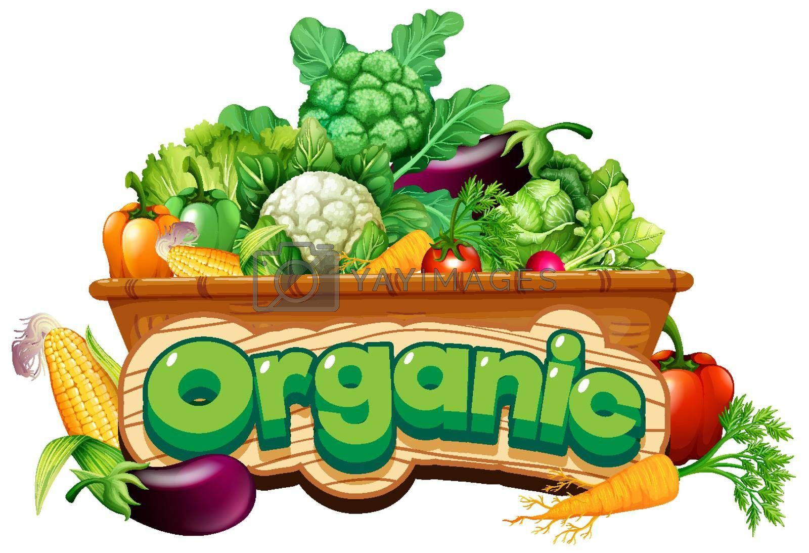 Font design for word organic with many fresh vegetables illustration