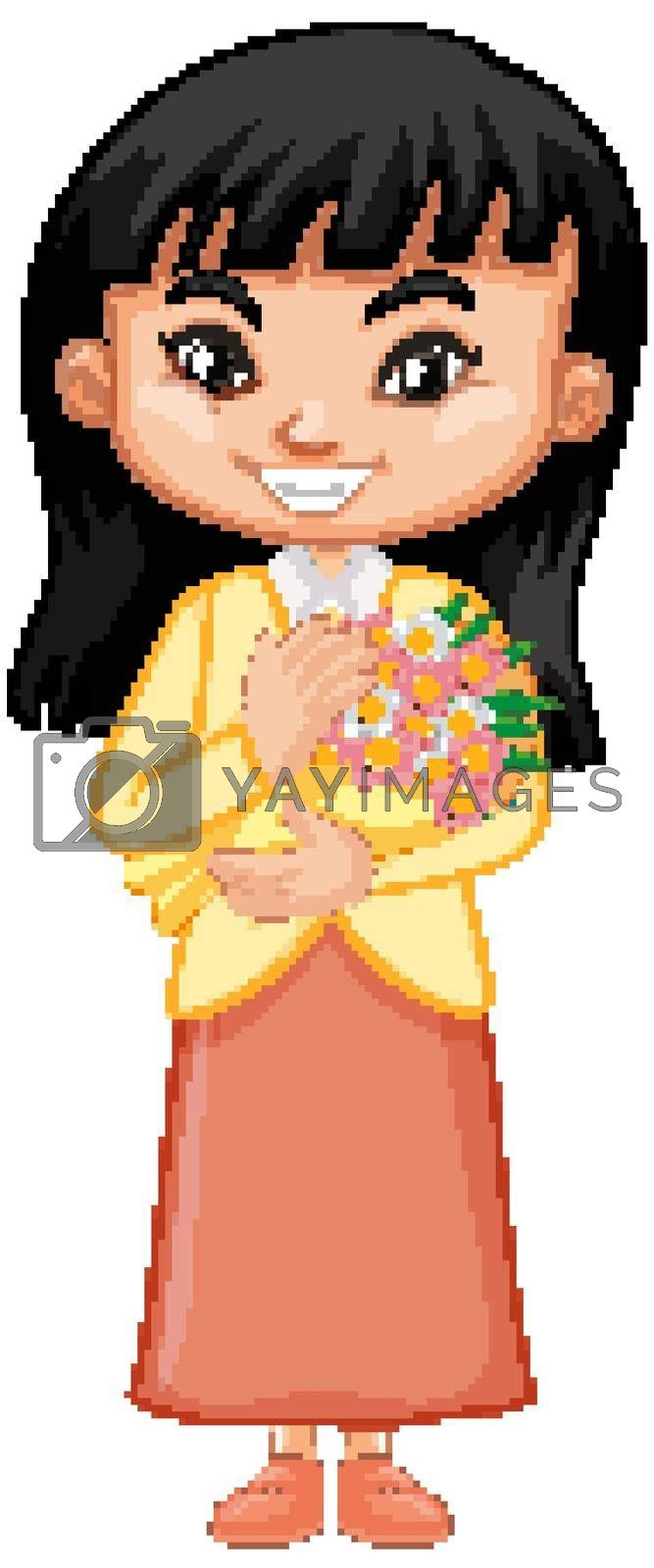 Cute girl with beautiful flowers on white background illustration