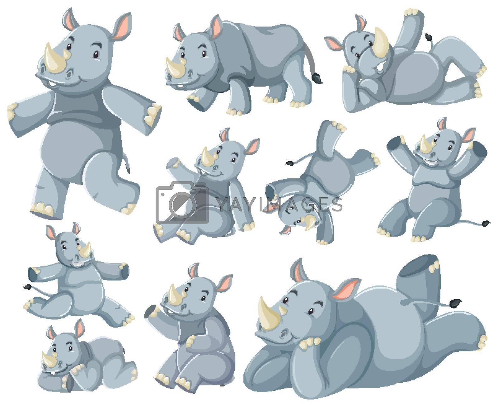 Group of rhinoceros cartoon character illustration