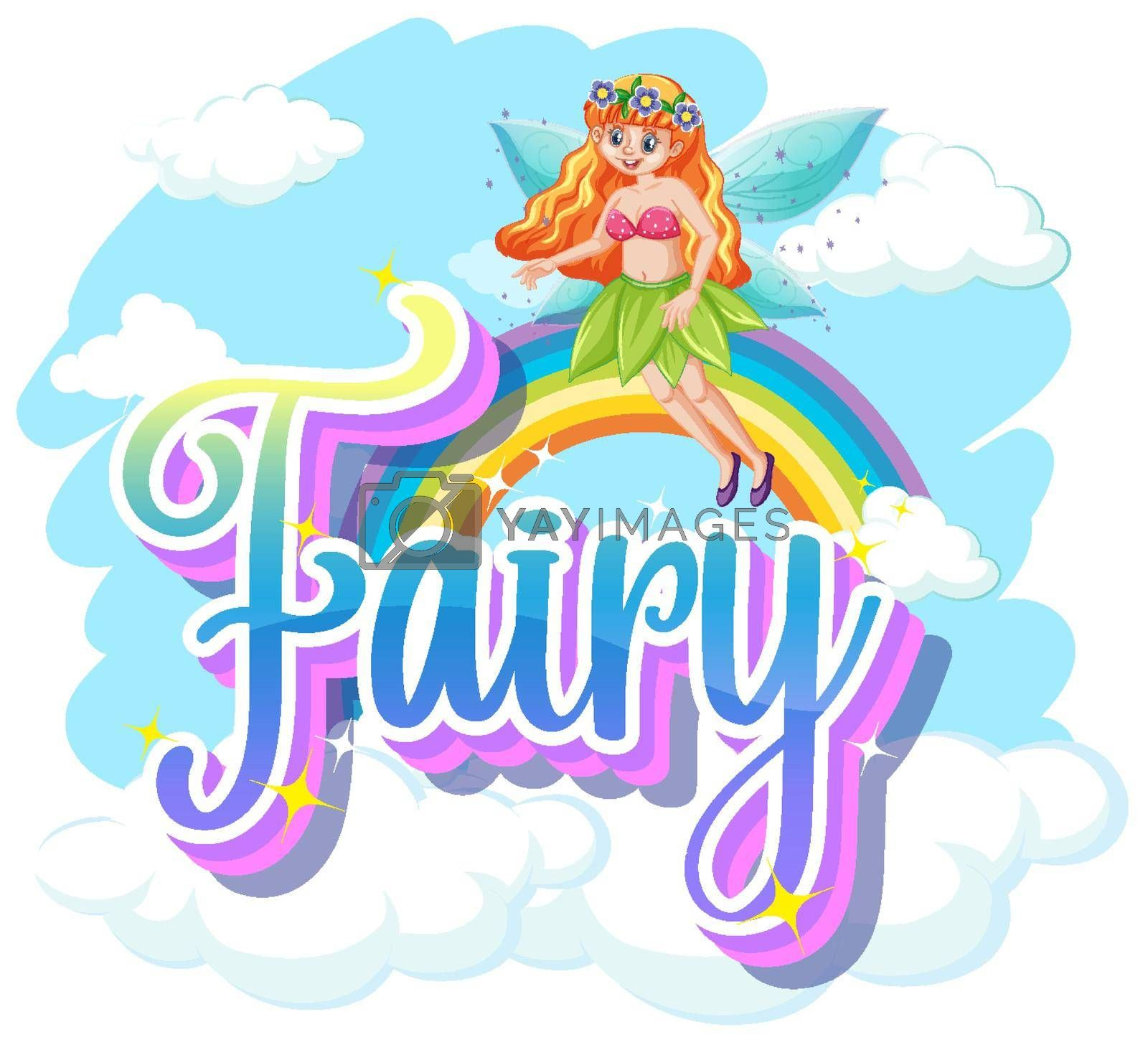 Fairy logos with little fairy on white background illustration