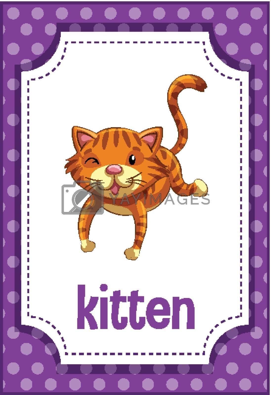 Vocabulary flashcard with word Kitten illustration