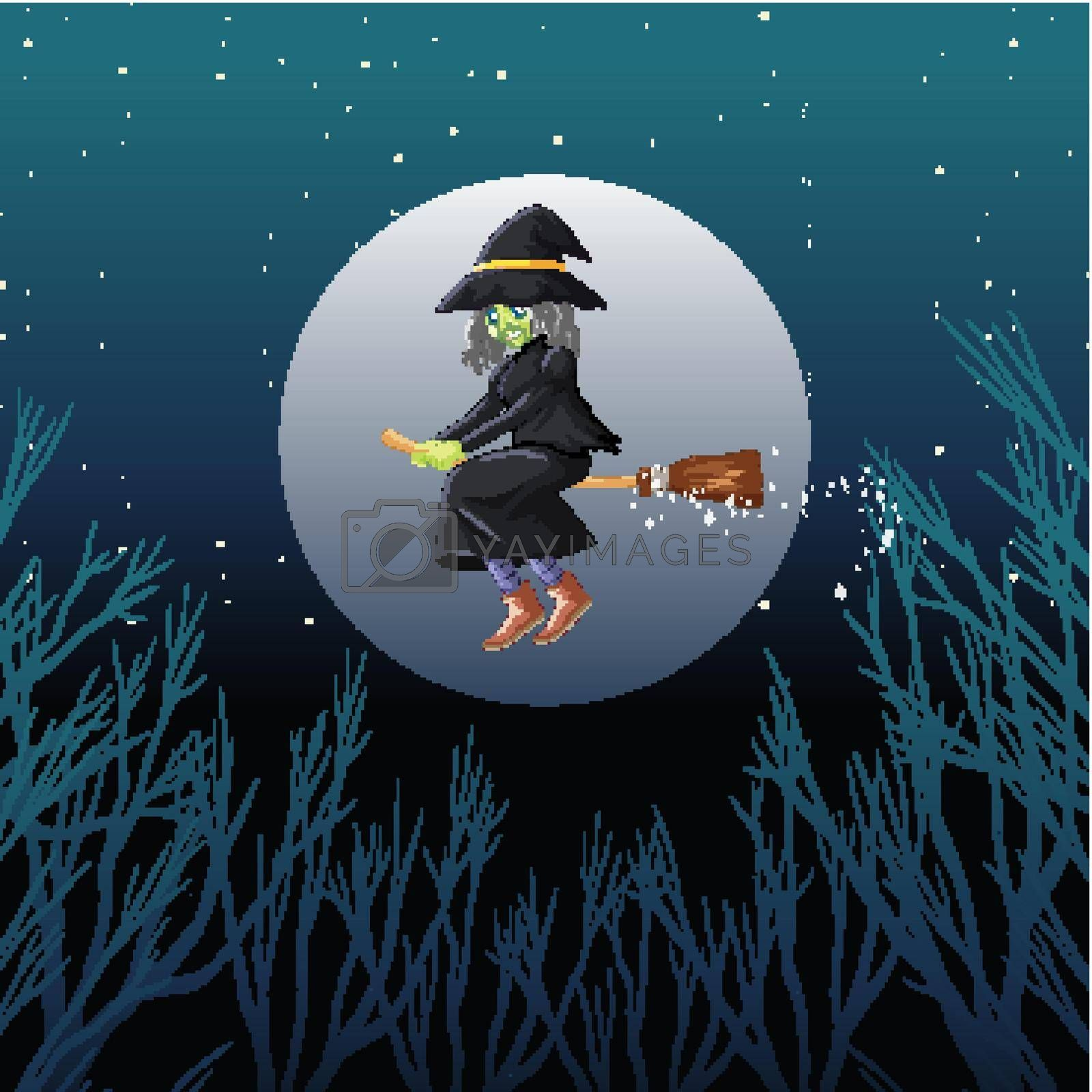 Witch or wizard riding broomstick the sky isolated on sky background illustration