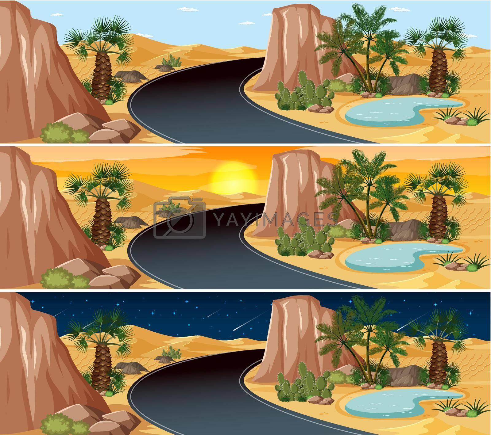 Desert nature landscape scene at different times of day illustration