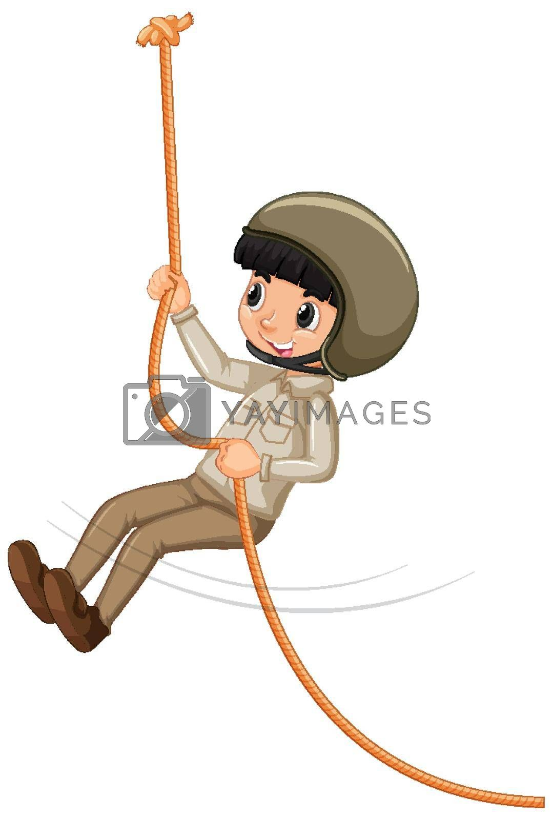Boy in scout uniform climbing rope on white background illustration