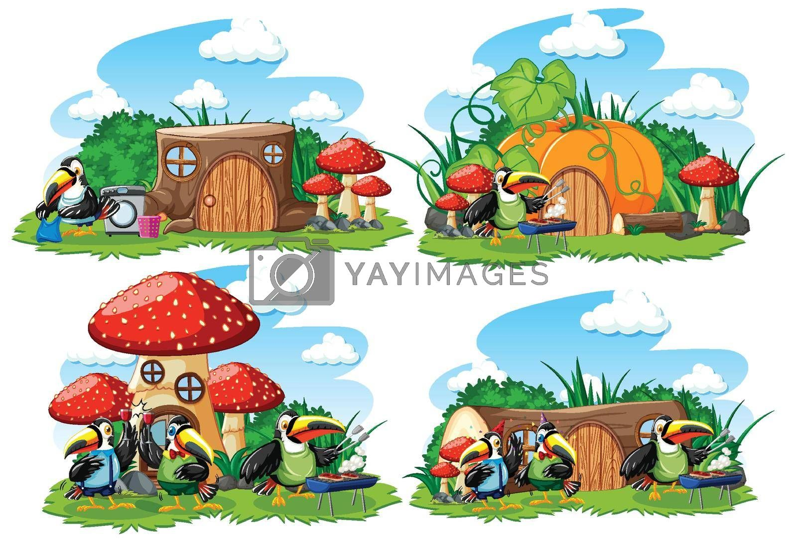 Set of fantasy houses in the garden with cute animals isolated on white background  illustration