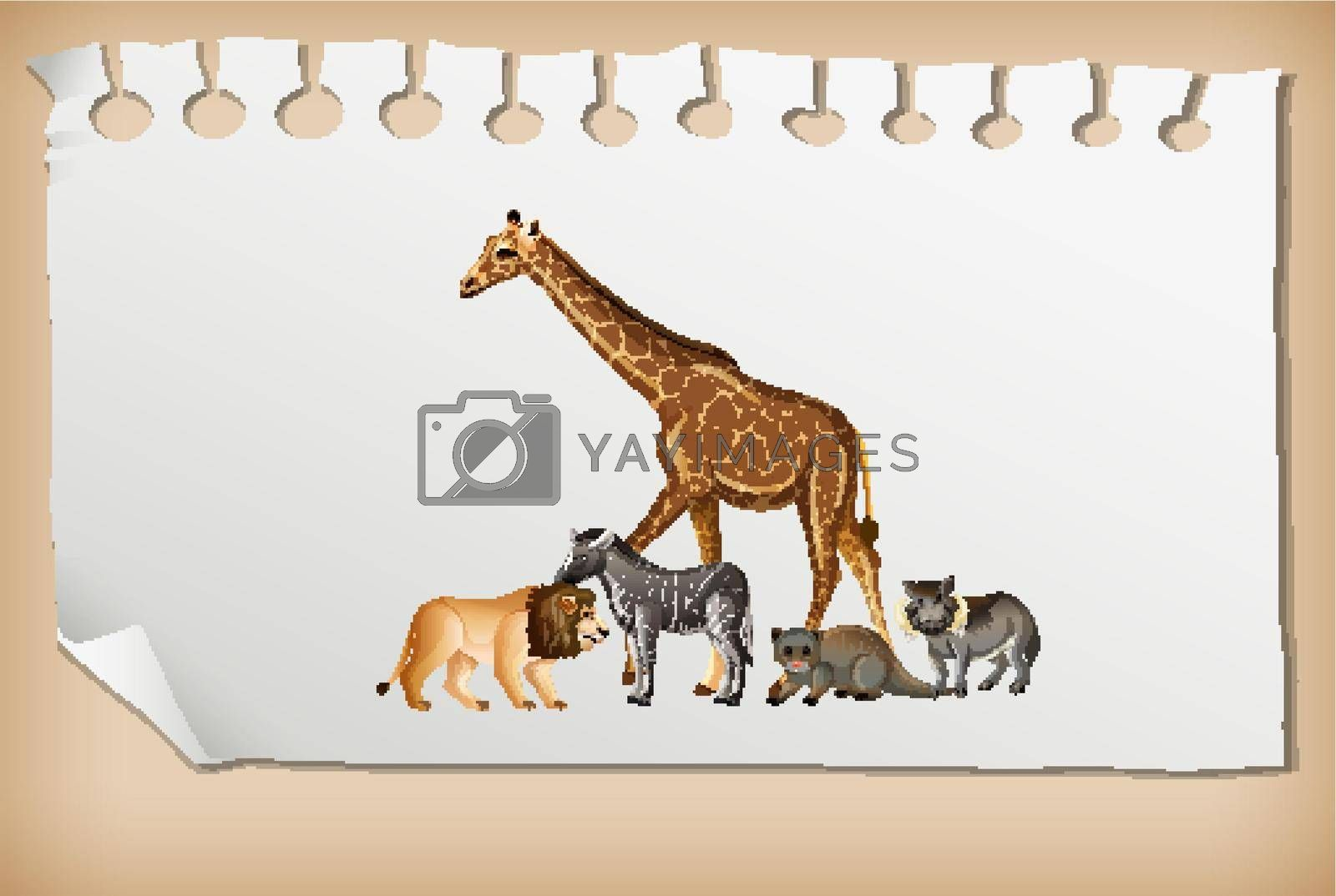Group of wild african animal on paper  illustration