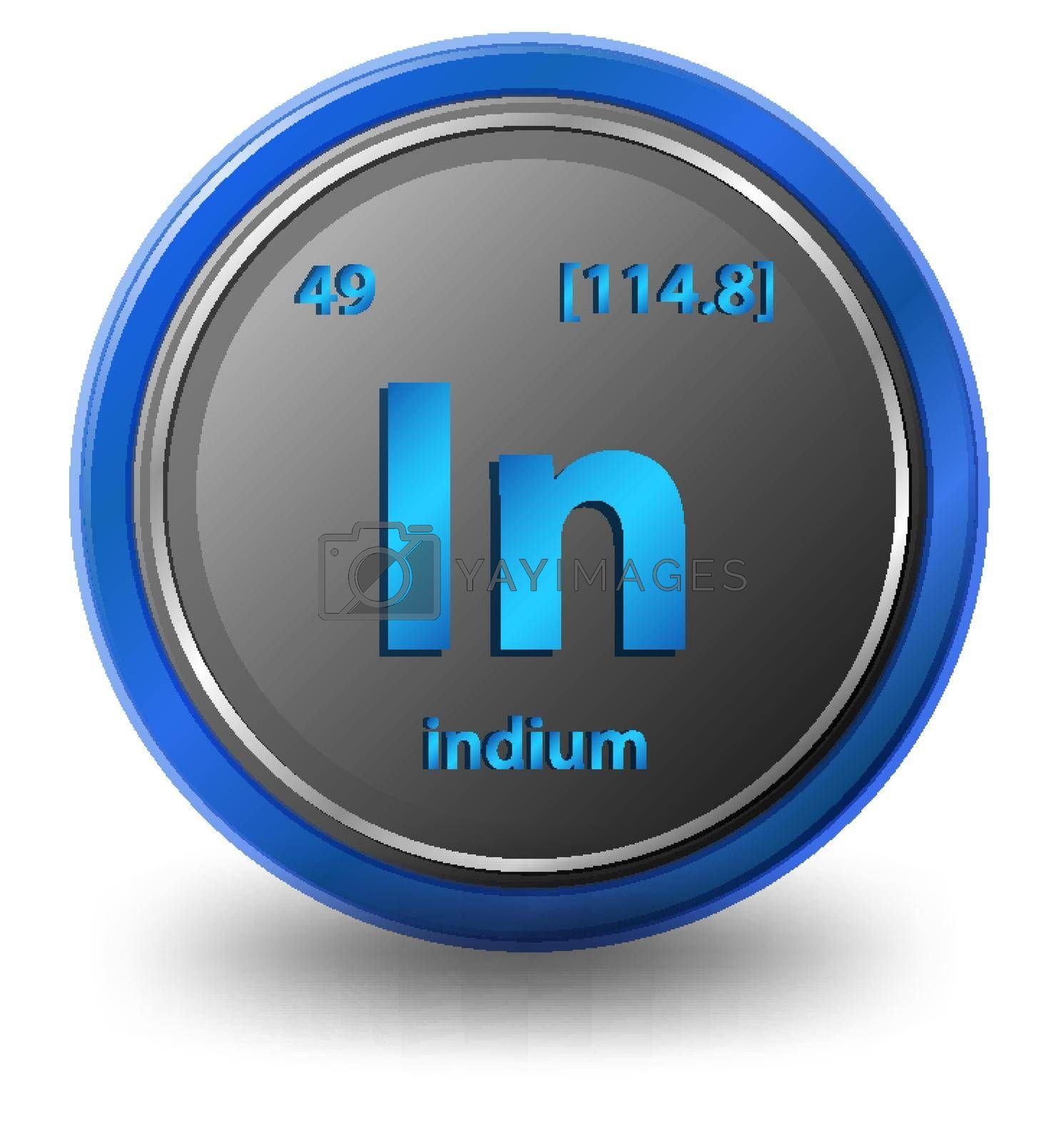 Indium chemical element. Chemical symbol with atomic number and atomic mass. illustration