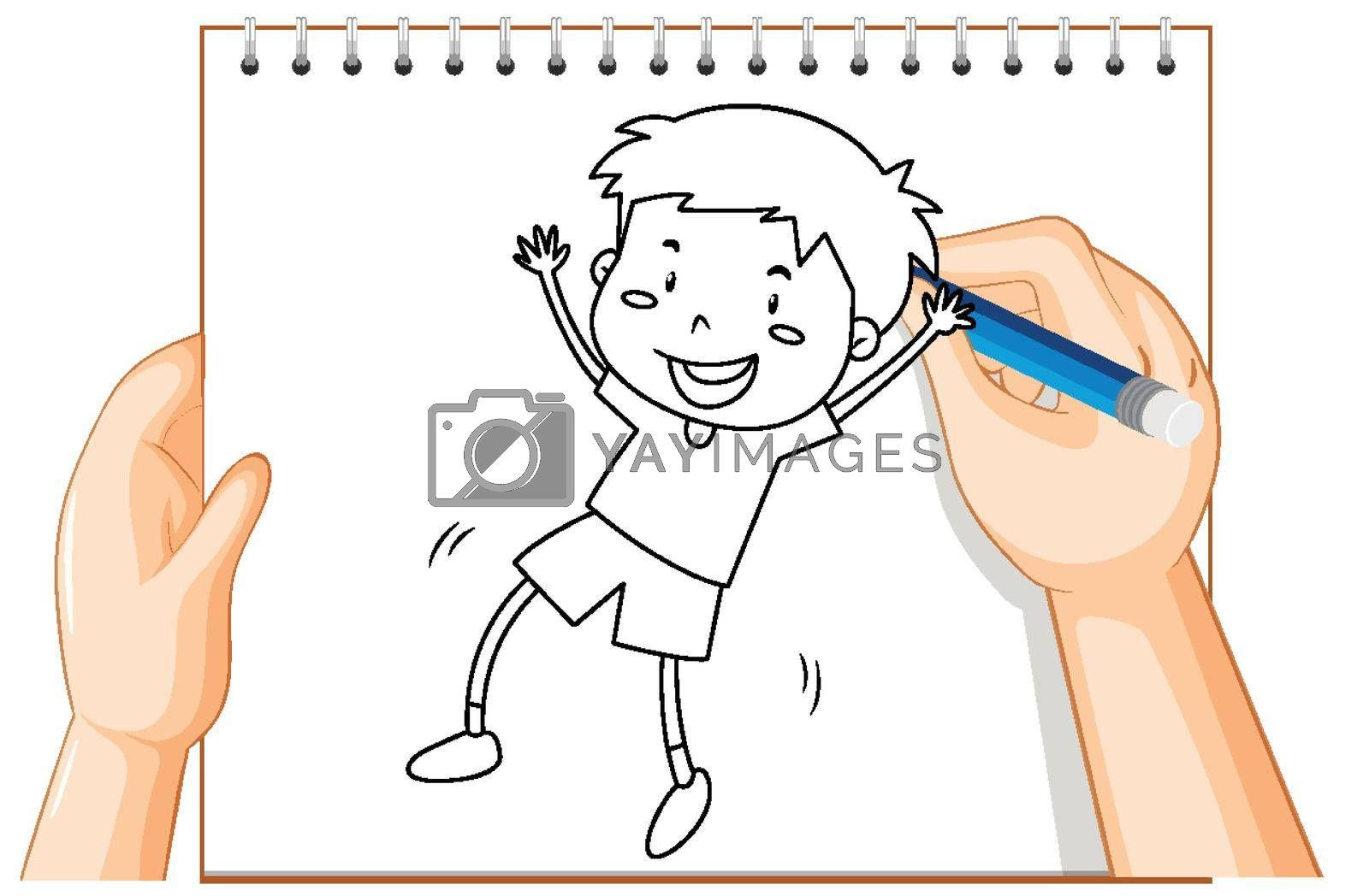Hand writing of boy dancing outline illustration