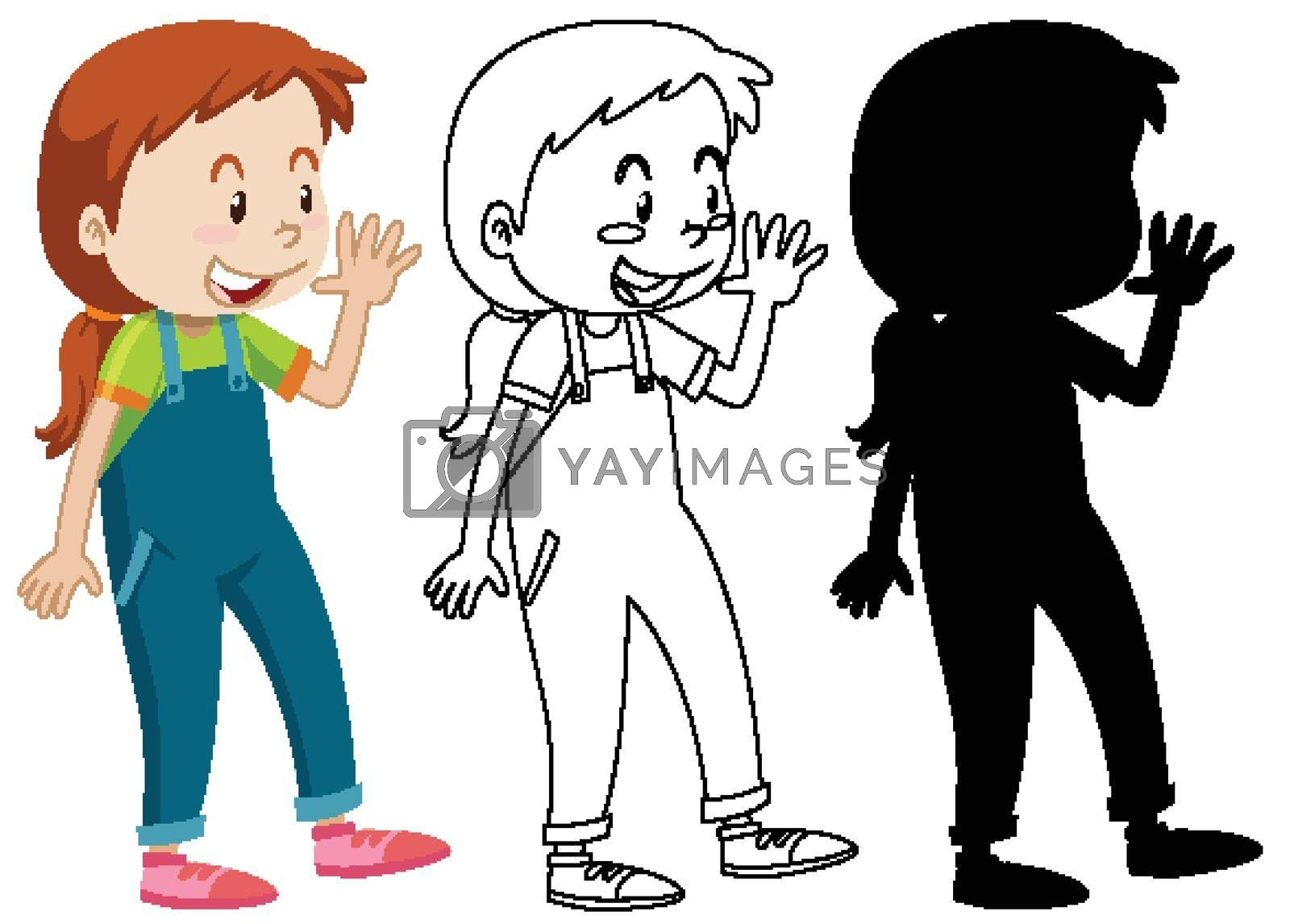 Girl greeting someone posing with its outline and silhouette illustration