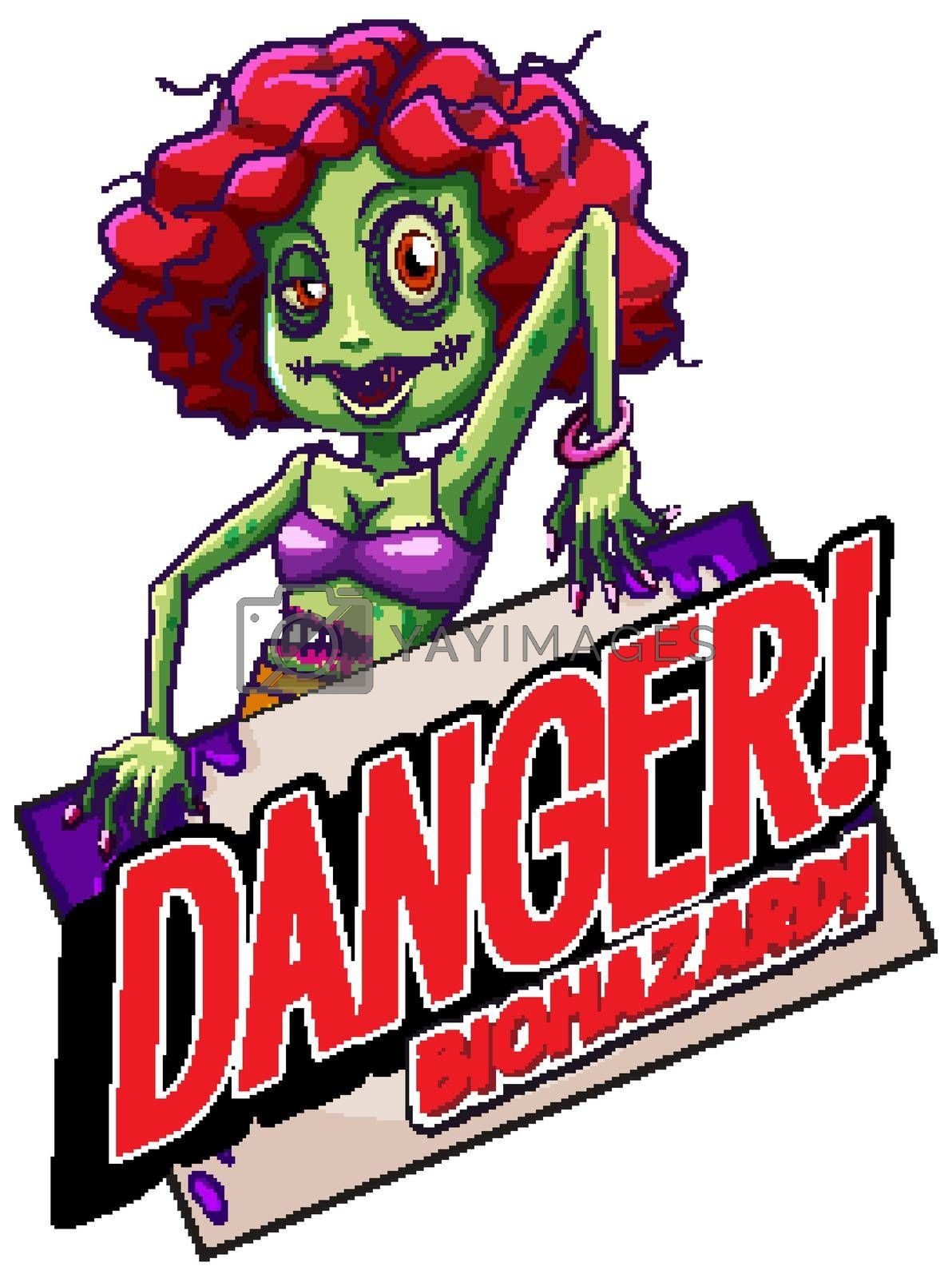 Font design for word danger biohazard with zombie on white background illustration