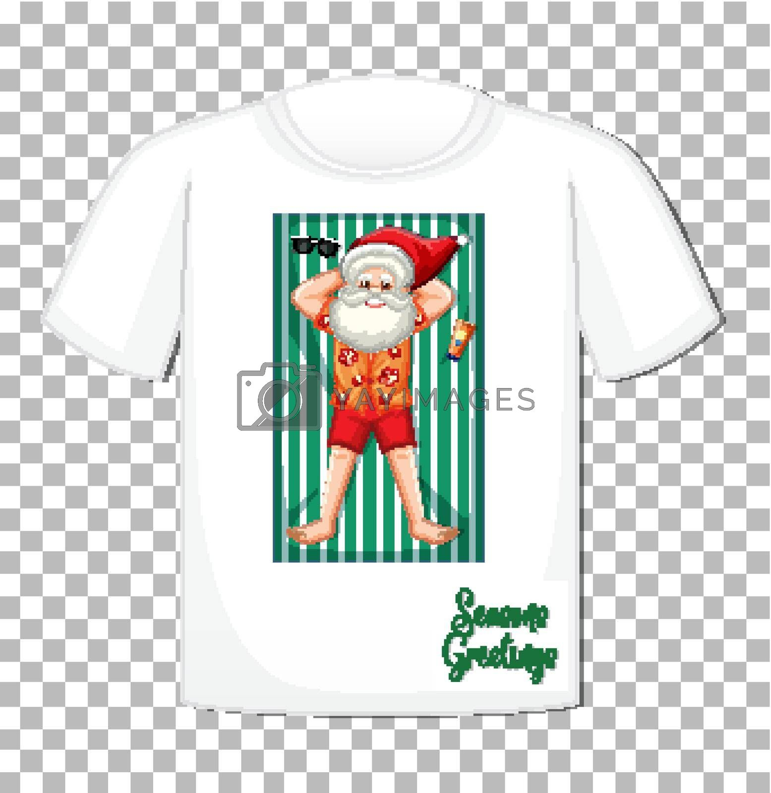 Santa Claus in summer costume cartoon character on t-shirt isolated on transparent background illustration