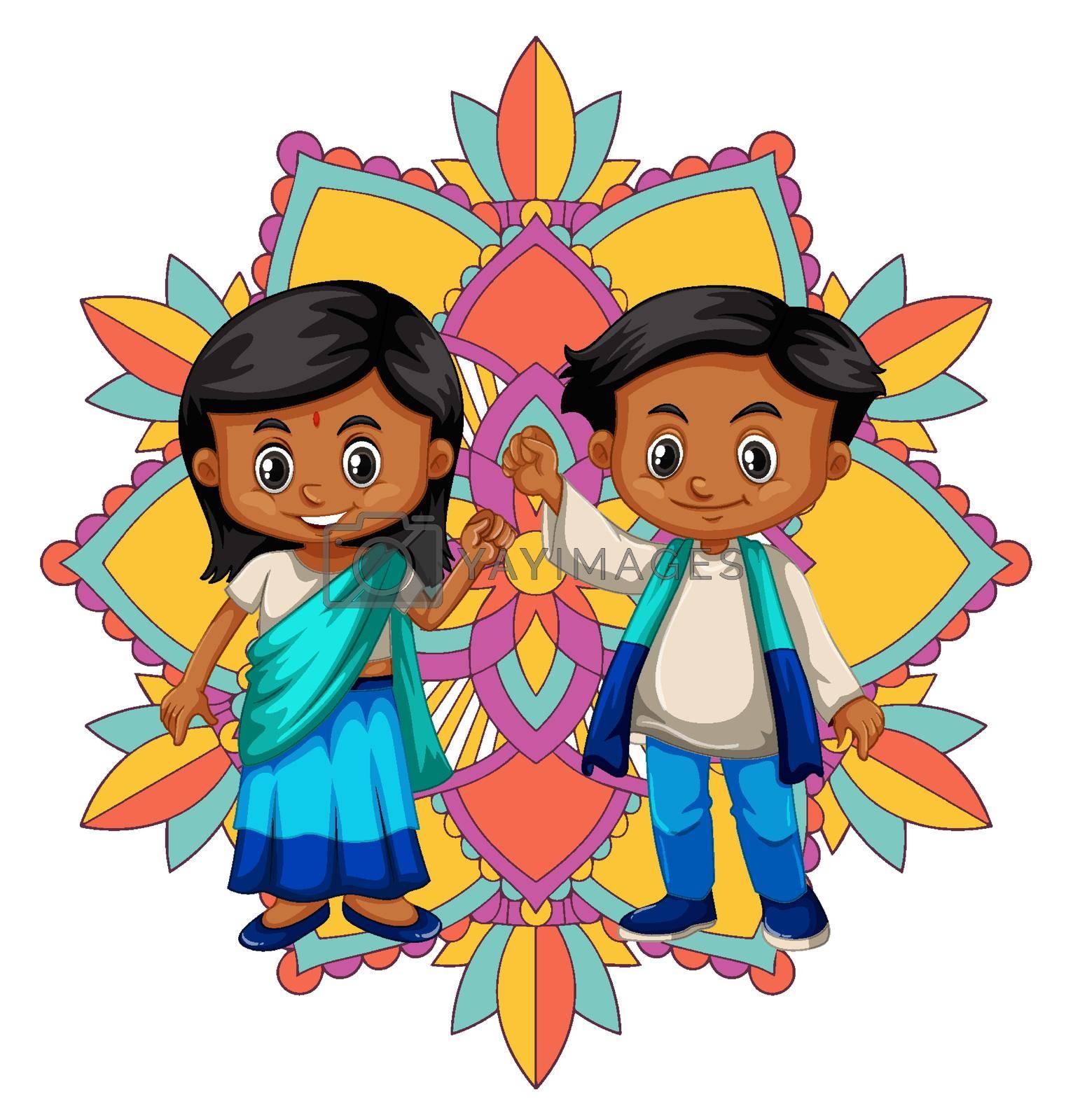 Mandala pattern design background with two happy kids illustration