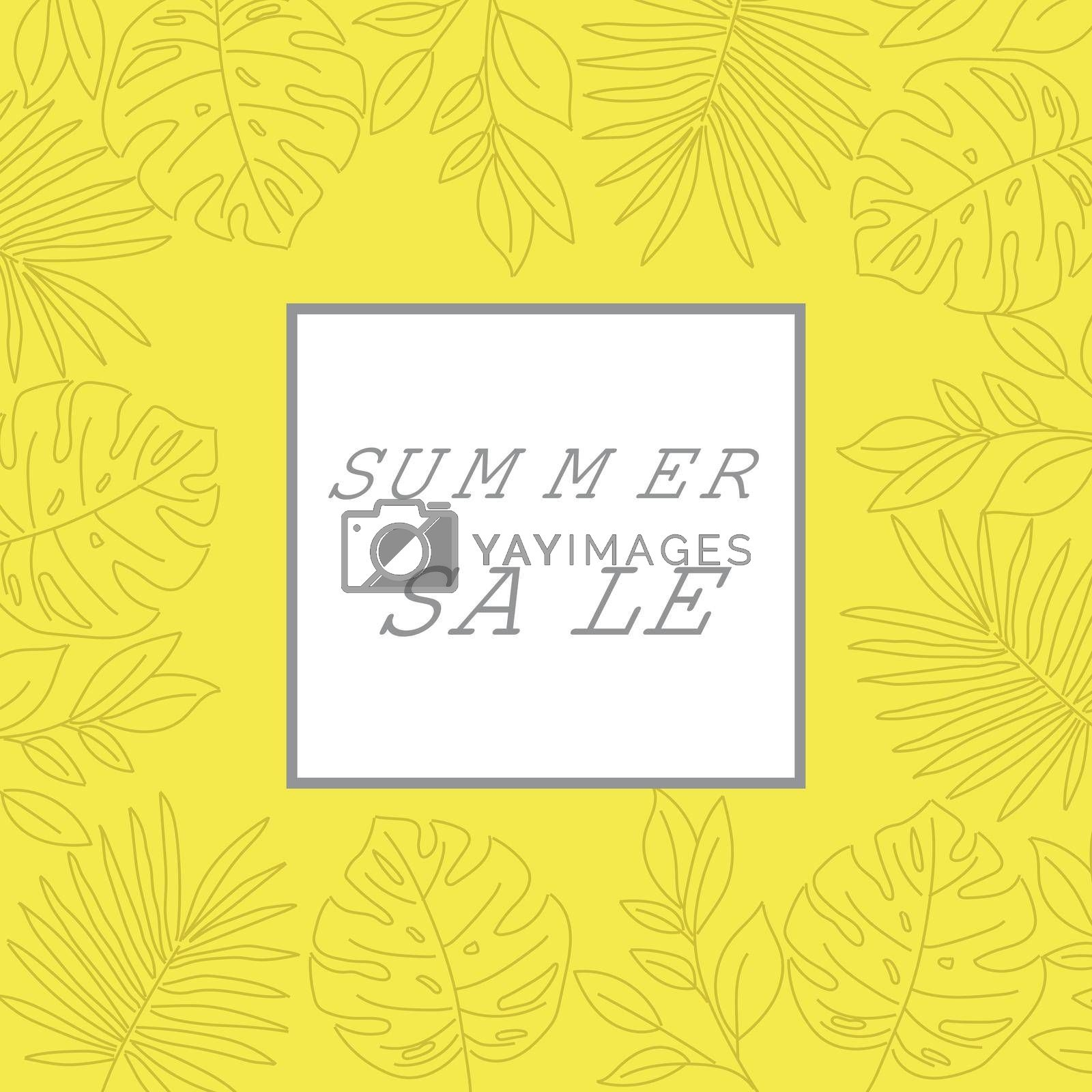 Royalty free image of Summer sale banner with tropical leaves. Summer banner by balasoiu