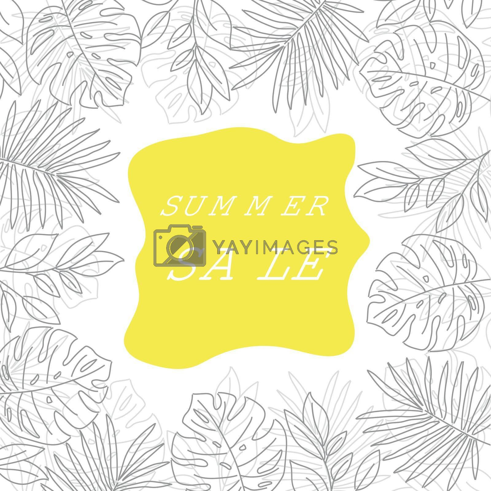 Summer sale banner with tropical leaves. Summer banner. Vector.