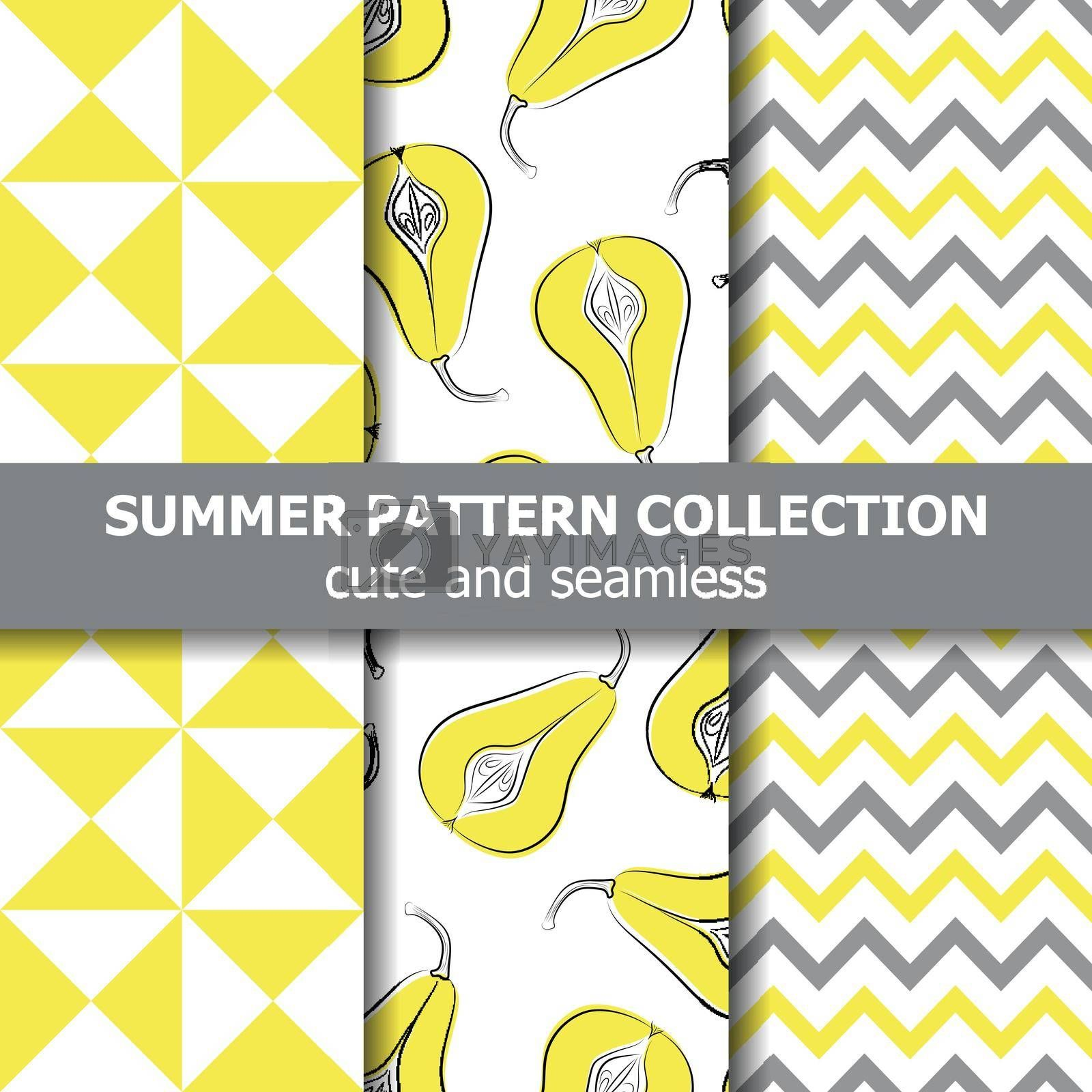 Royalty free image of Delicious summer pattern collection. Pears theme. Summer banner. by balasoiu