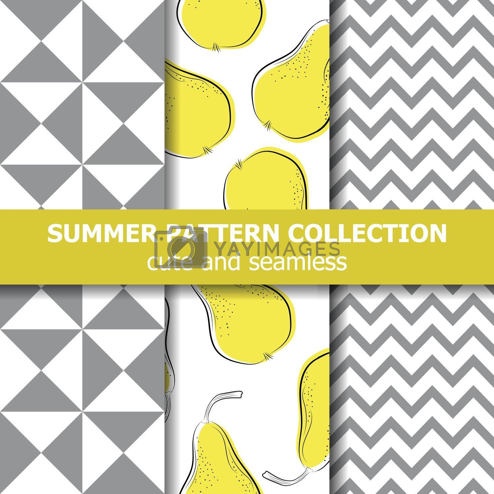 Cute summer pattern collection. Pears theme. Summer banner. Vector.