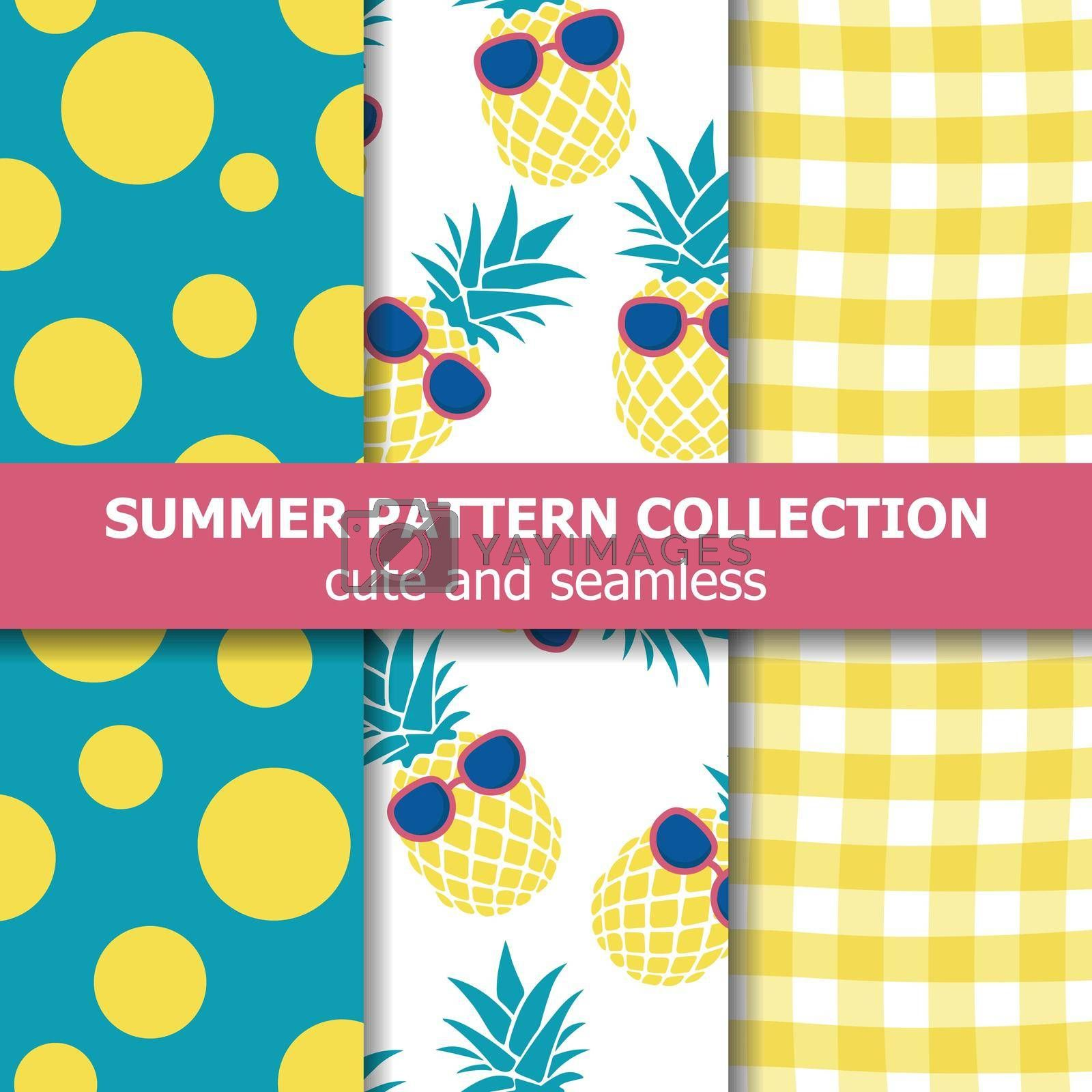 Royalty free image of Tropical summer pattern collection. Pineapple theme. Summer banner. by balasoiu