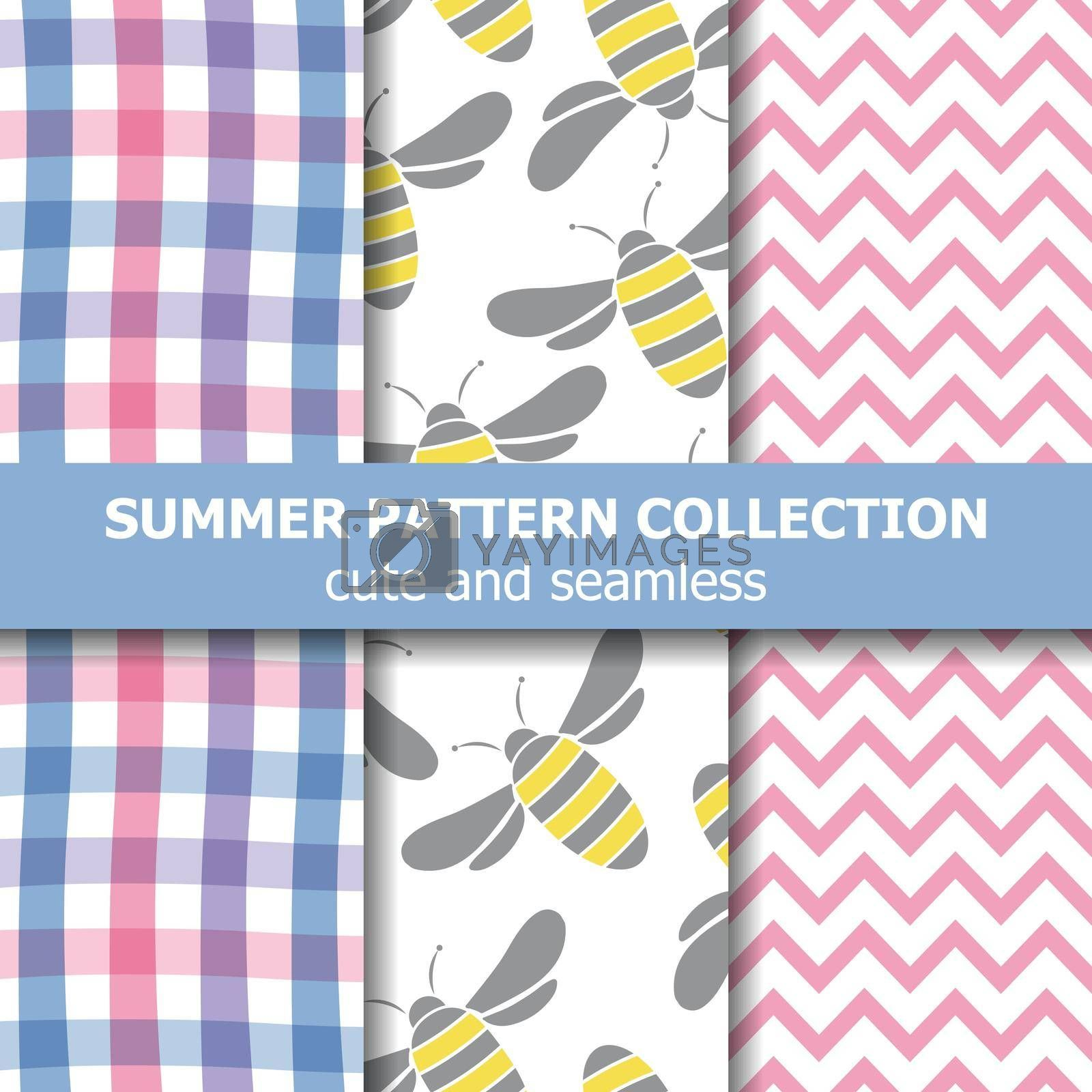 Summer pattern collection. Bees theme. Summer banner. Vector