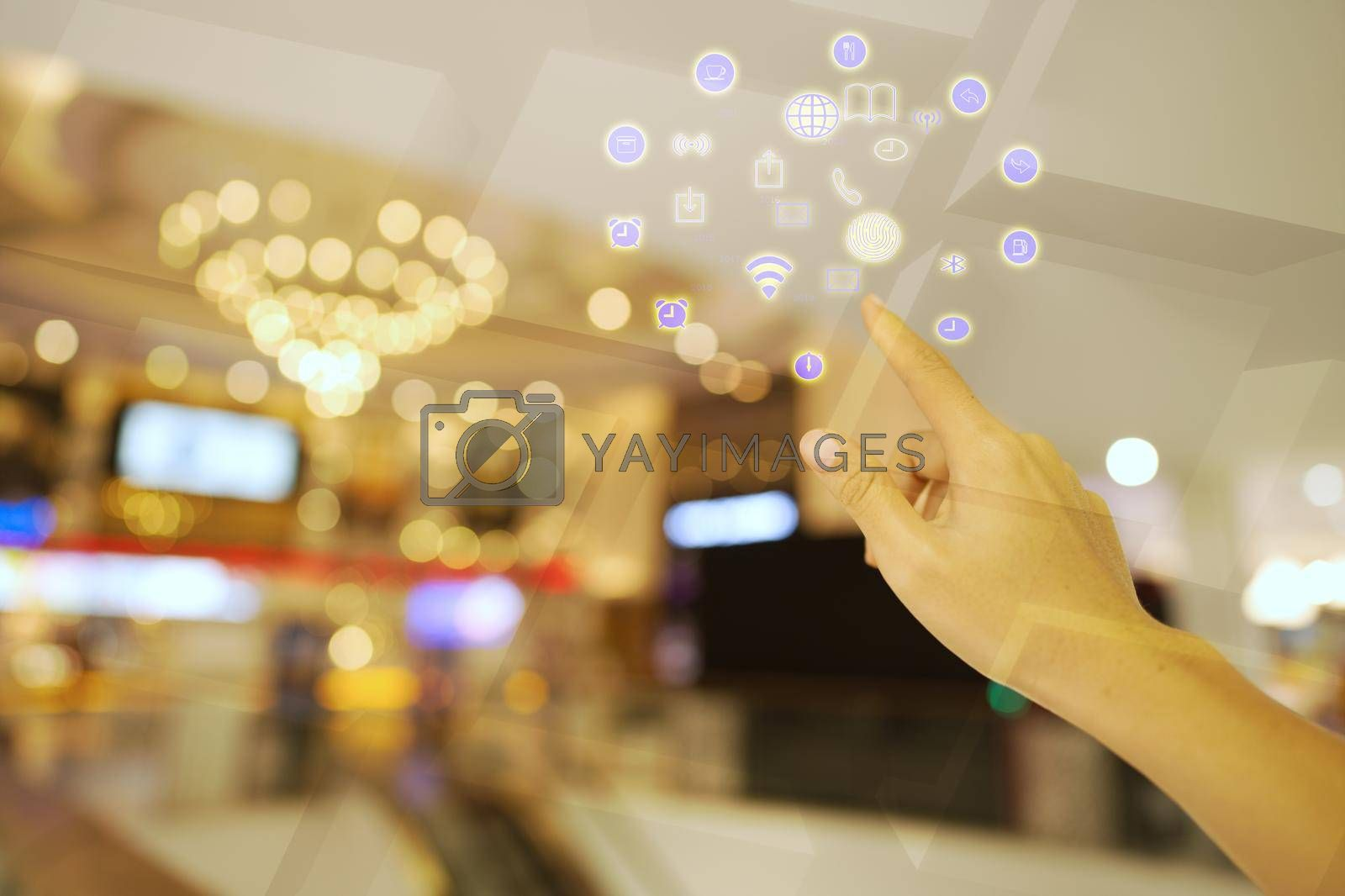 Abstract finger meal businessman pointing up Business concept, the linkage of communication technology and the service of the application.