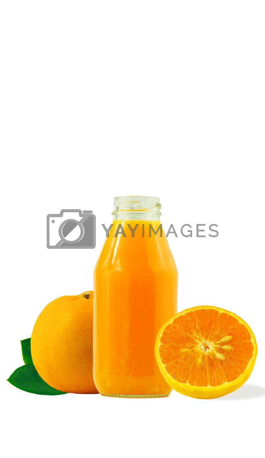 100% fresh-squeezed orange juice in a glass bottle And citrus fruit split on white background. Concept of how to live with a naturally refreshing drink that contains vitamin C