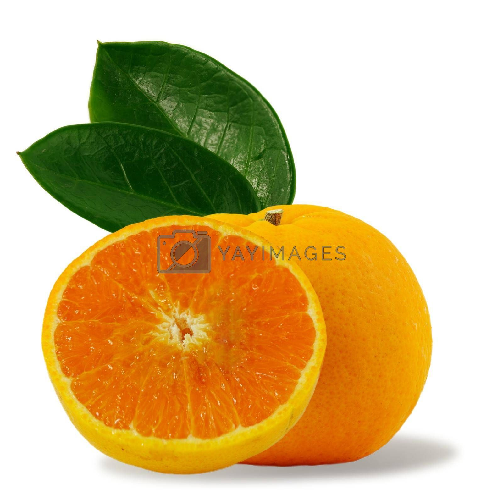 Orange fruit and orange halves Isolated on a white background Concept how to live with a naturally refreshing drink containing vitamin C.