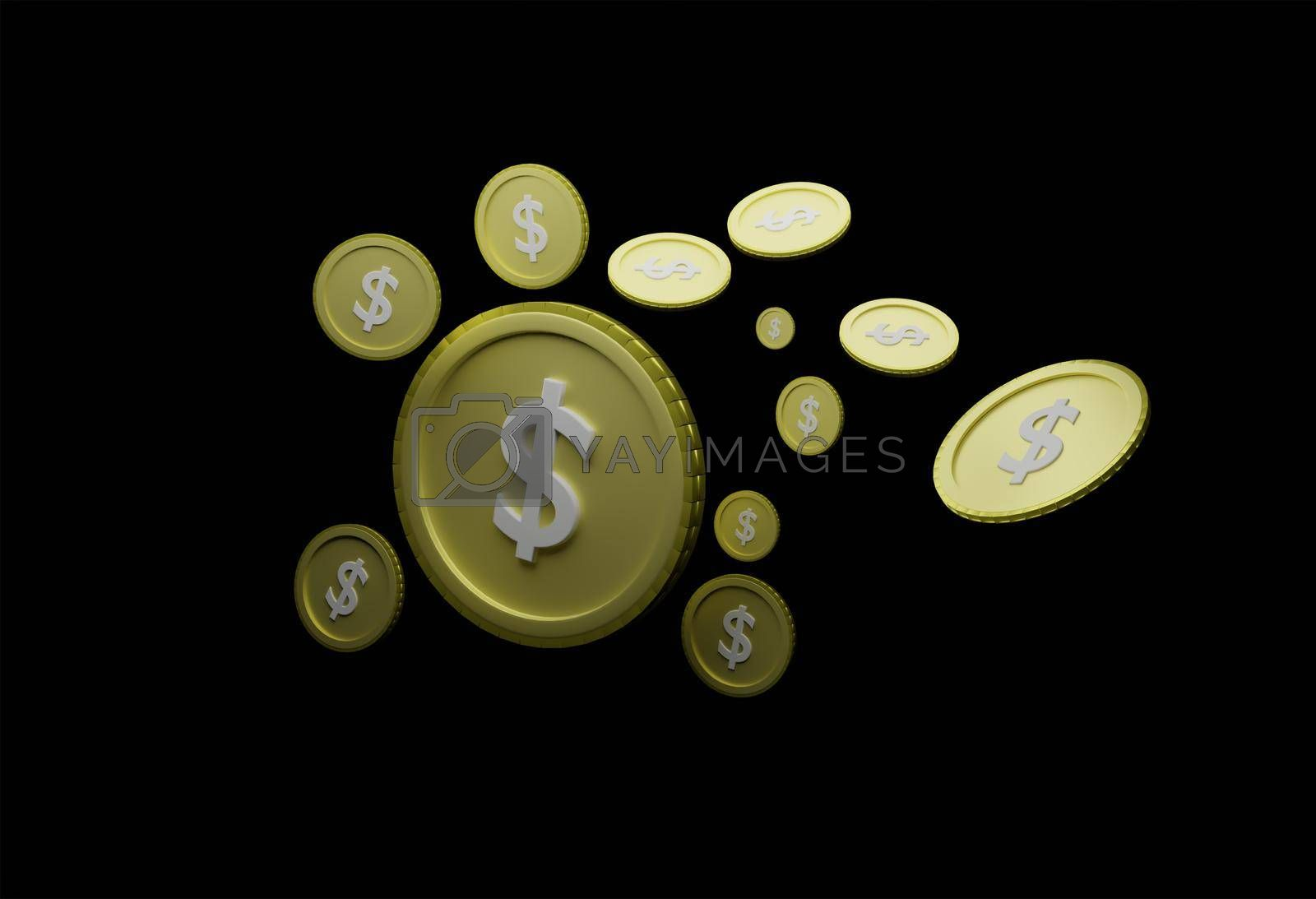 Royalty free image of Abstract floating us dollar coin Black background isolated Concept of currency analysis from economic fluctuations in export trade, global market valuation 3D rendering. by noppha80