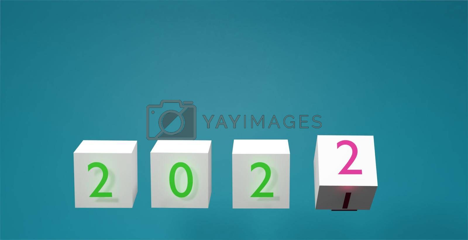 Abstract white cube background with pastel blue color with lettering Year change concept and new year goal setting 3d rendering.
