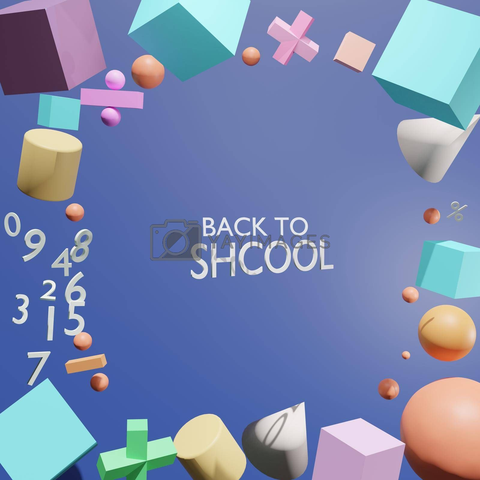 Abstract, mathematical notation and mathematical numbers contain the word BACK TO SCHOOL, a concept for the opening of the new semester School and educational institutions 3D rendering.