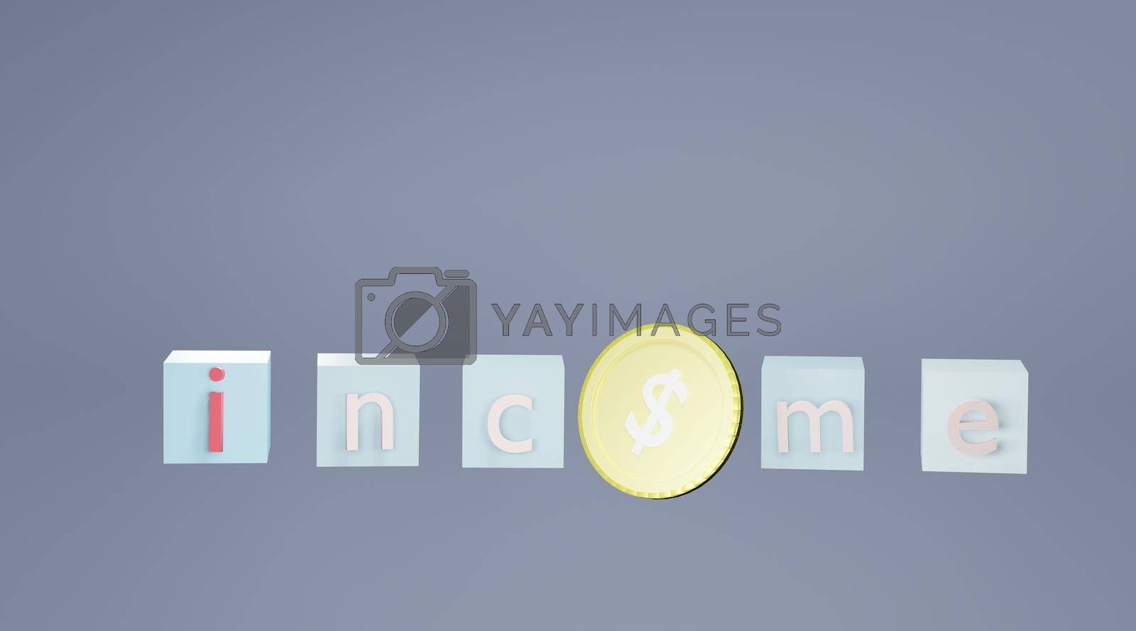 Royalty free image of Abstract text box and dollar coin Concept of investment income and financial stability 3D rendering. by noppha80