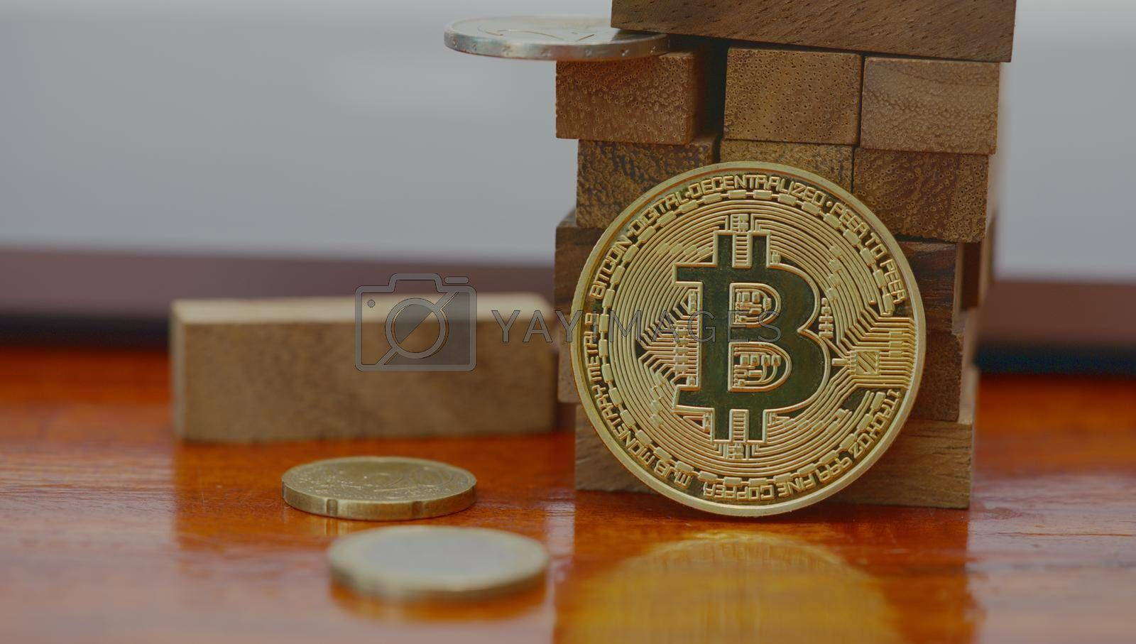 Abstract Bitcoin The concept of digital currency for business investment and world banking.