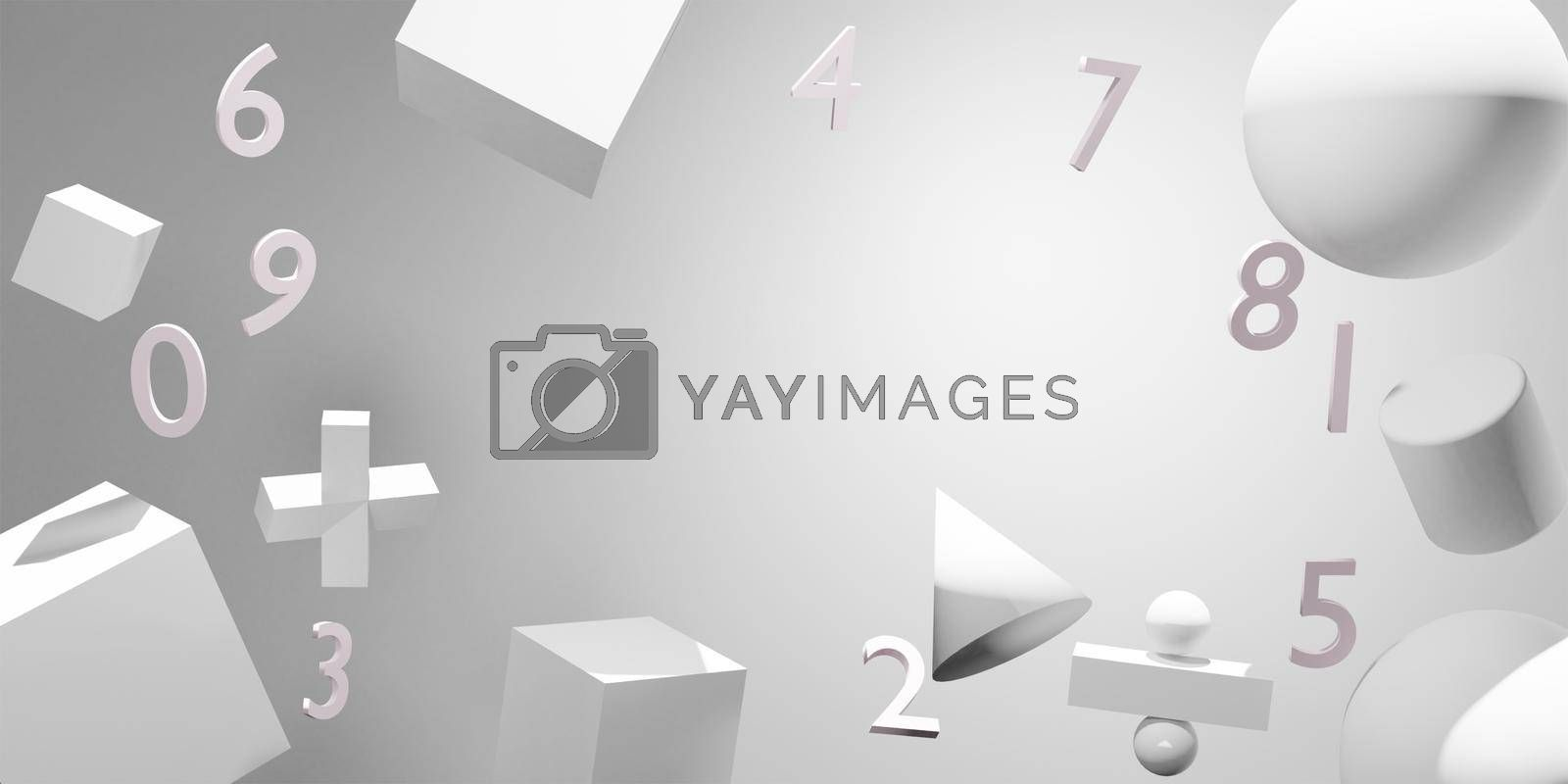 Royalty free image of Abstract numbers and scientific notation Conceptual background of scientific education 3D rendering. by noppha80