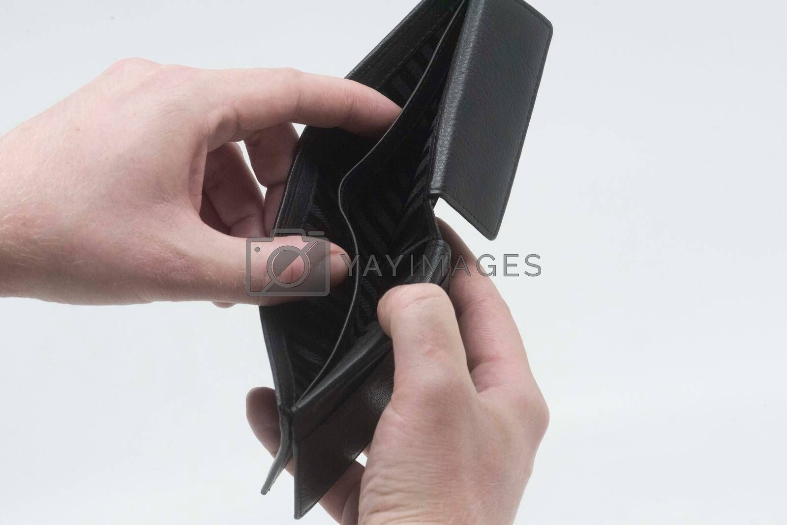 wallet and cash money in economic difficult times and economic recession
