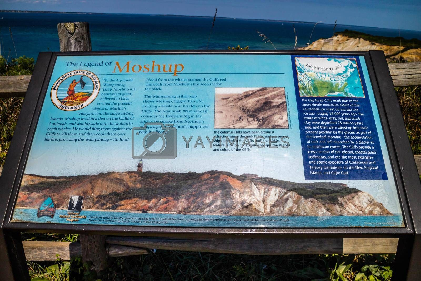 Royalty free image of Cape Cod Marthas Vineyard, MA, USA - Sept 4, 2018: The Legend of Moshop Cliff stone marker by cherialguire