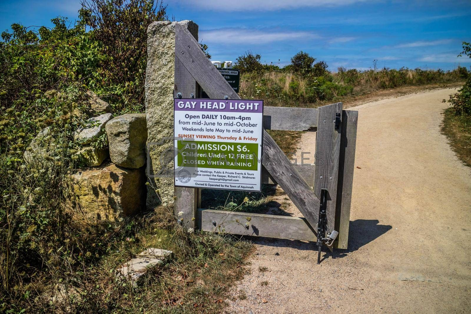 Royalty free image of Cape Cod Marthas Vineyard, MA, USA - Sept 4, 2018: A welcoming signboard at the entry point the lighthouse by cherialguire