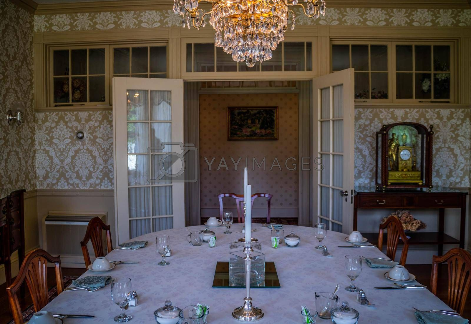 Royalty free image of Augusta, ME, USA - August 8, 2018: The dining area of Blaine's House by cherialguire