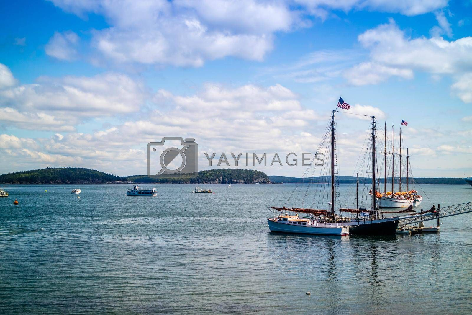Royalty free image of Bar Harbor, ME, USA - August 19, 2018: A sailing yacht boat cruising along the shore of Bar Harbor by cherialguire