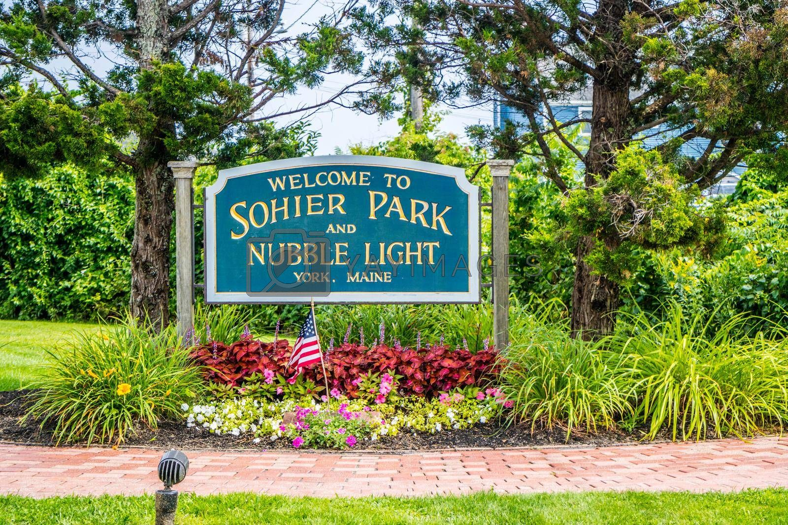 Royalty free image of York, ME, USA - August 25, 2018: A welcoming signboard at the entry point of Sohier Park by cherialguire