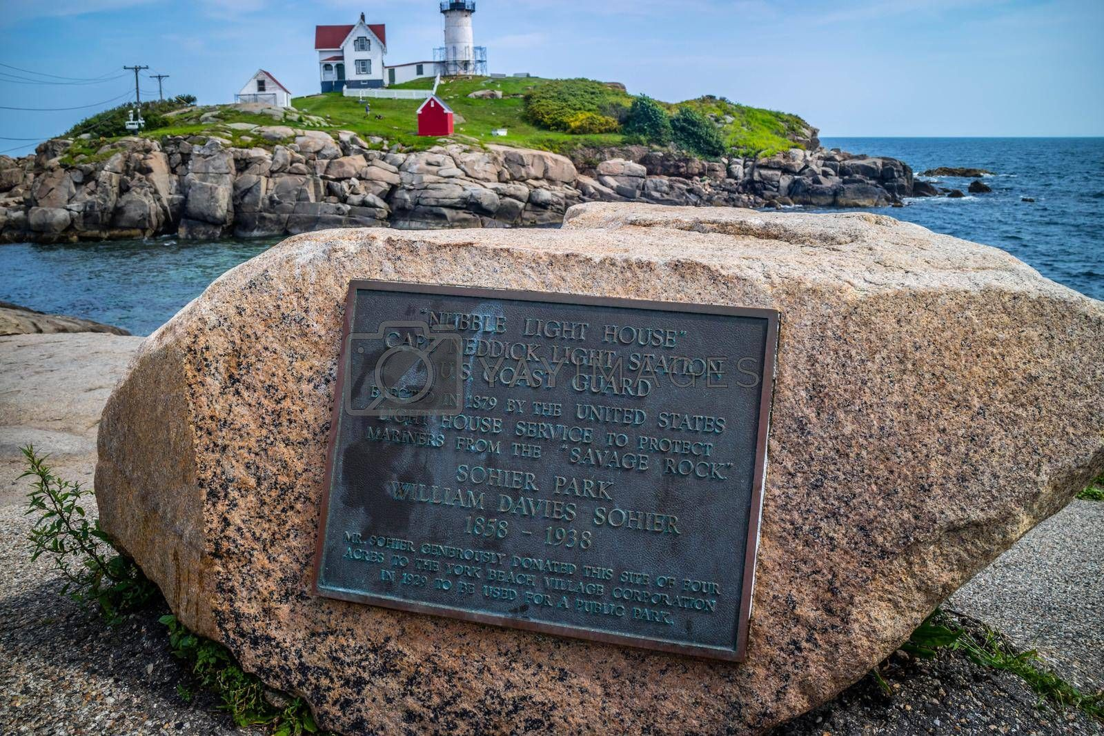 Royalty free image of York, ME, USA - August 25, 2018: The Nubble Light stone marker by cherialguire
