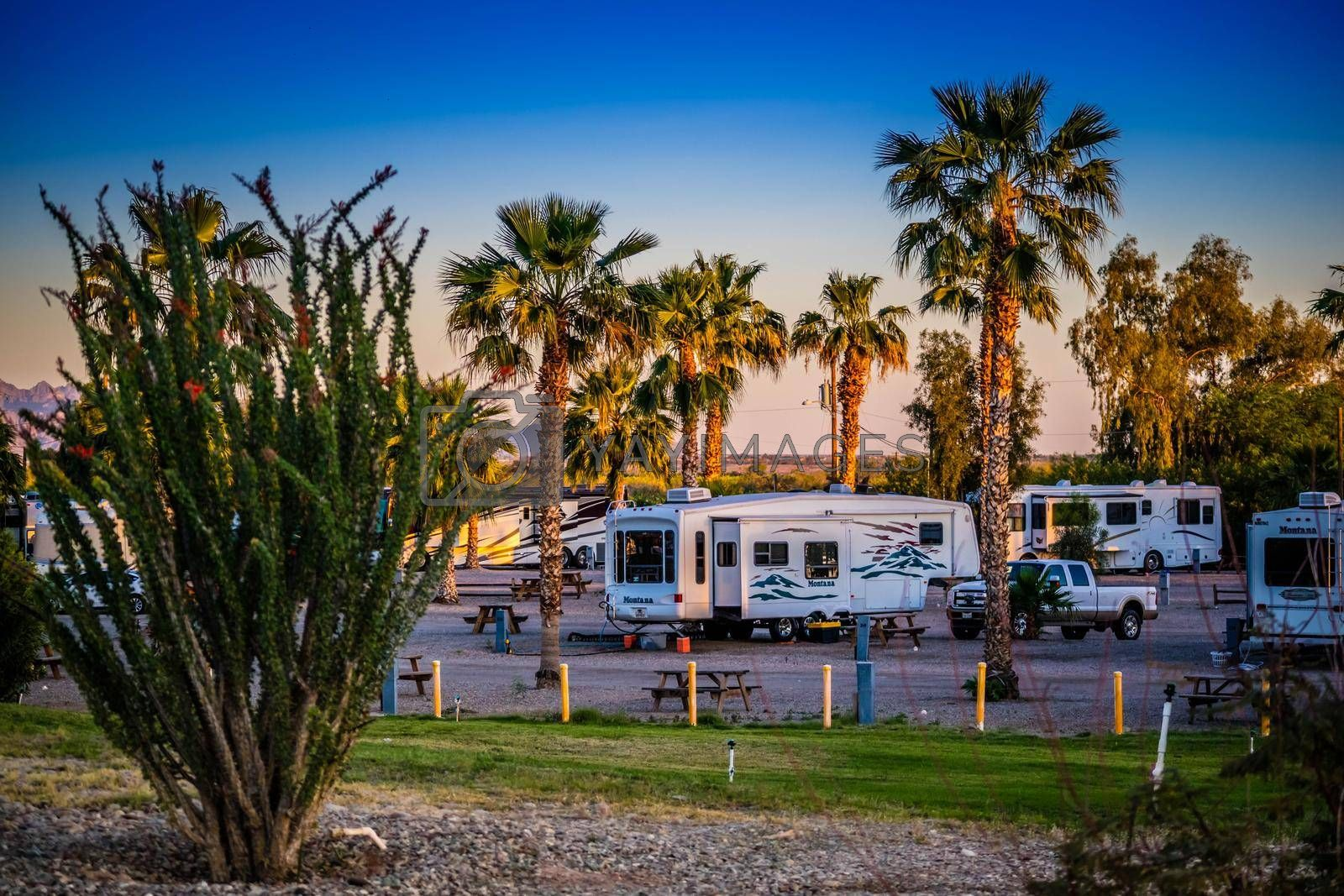 Royalty free image of Yuma, AZ, USA - April 4, 2017: Enjoying the captivated view from our RV by cherialguire