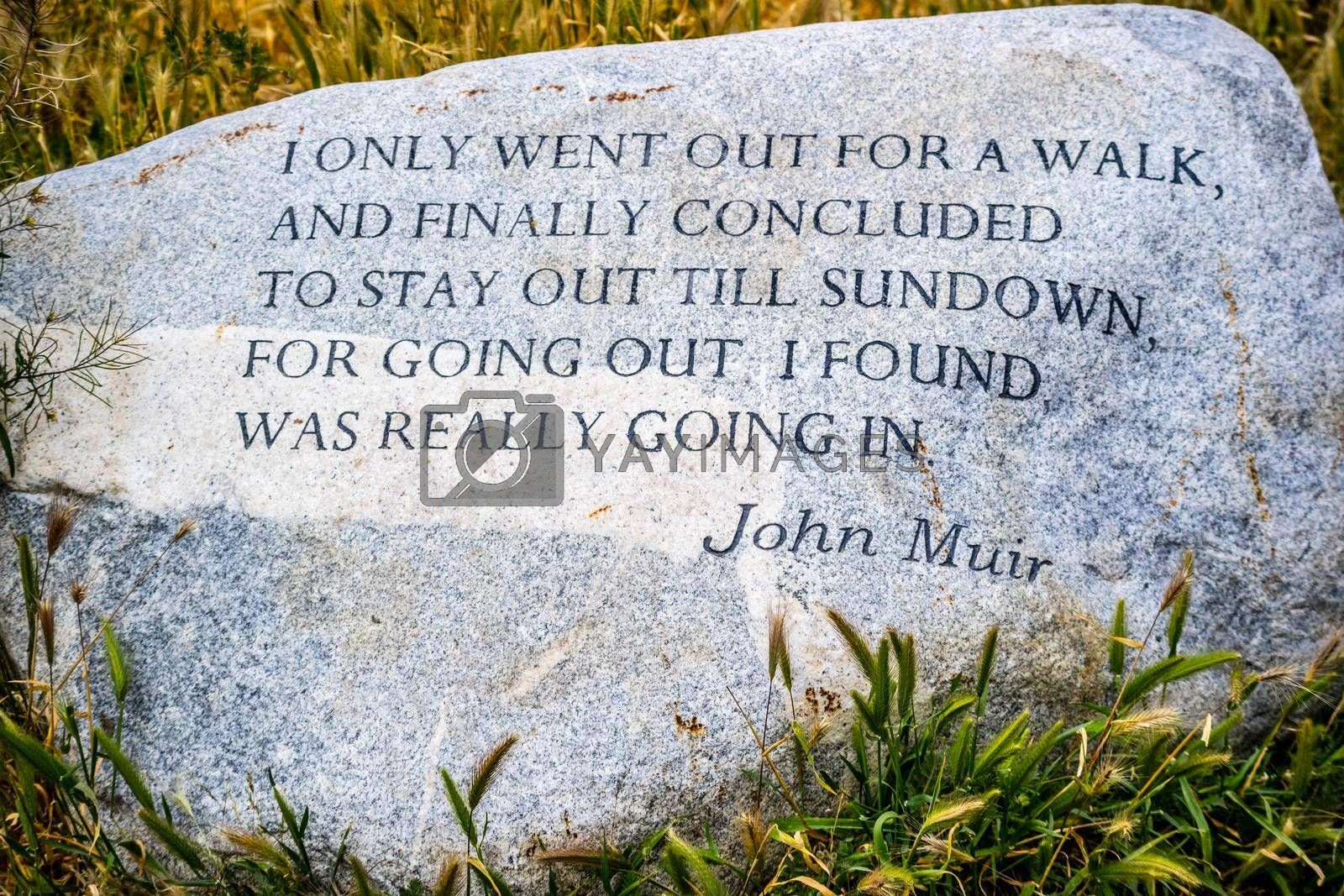 Royalty free image of Palm Spring, CA, USA - April 9, 2017: A John Muir headstone quote marker by cherialguire