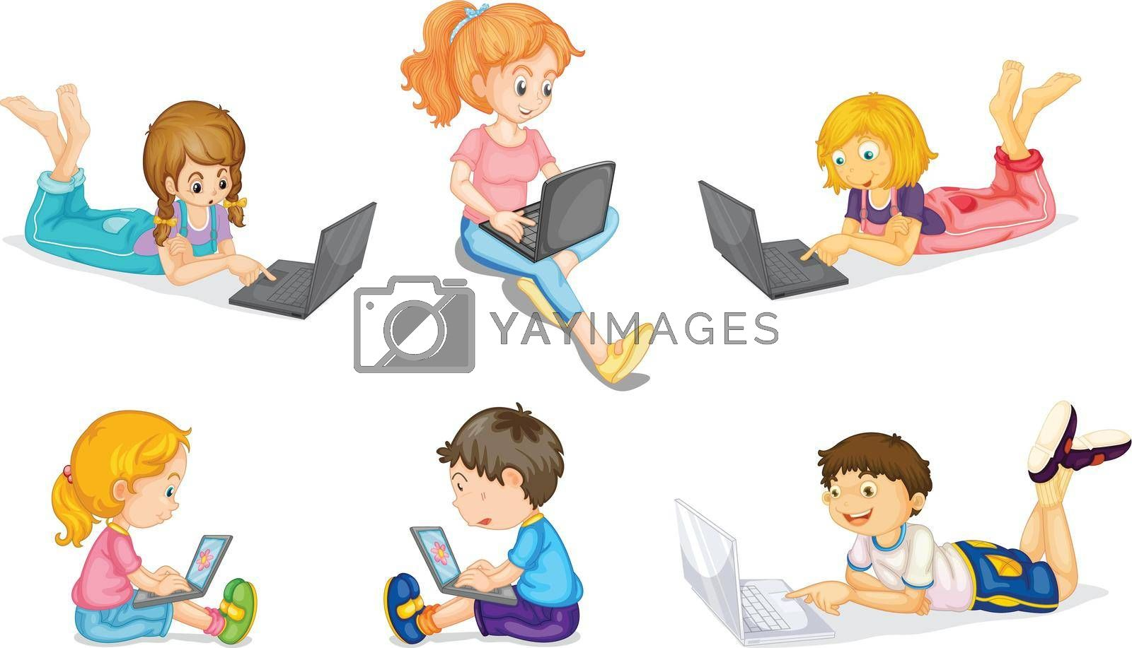 illustration of laptops and kids on a white background