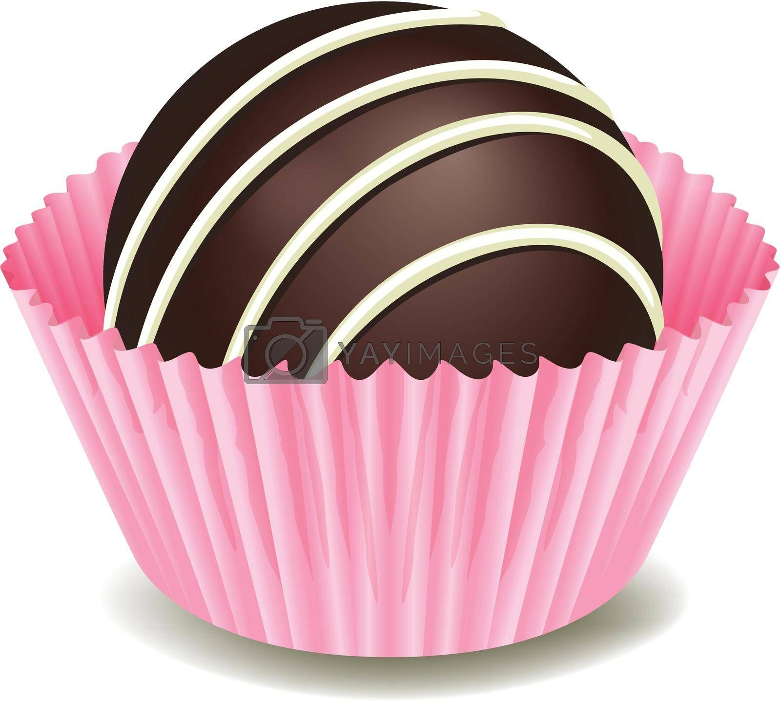 illustration of chocolates in a pink cup on a white background