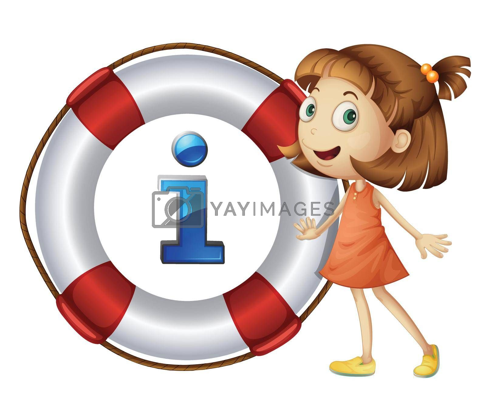 Illustration of girl and information icon