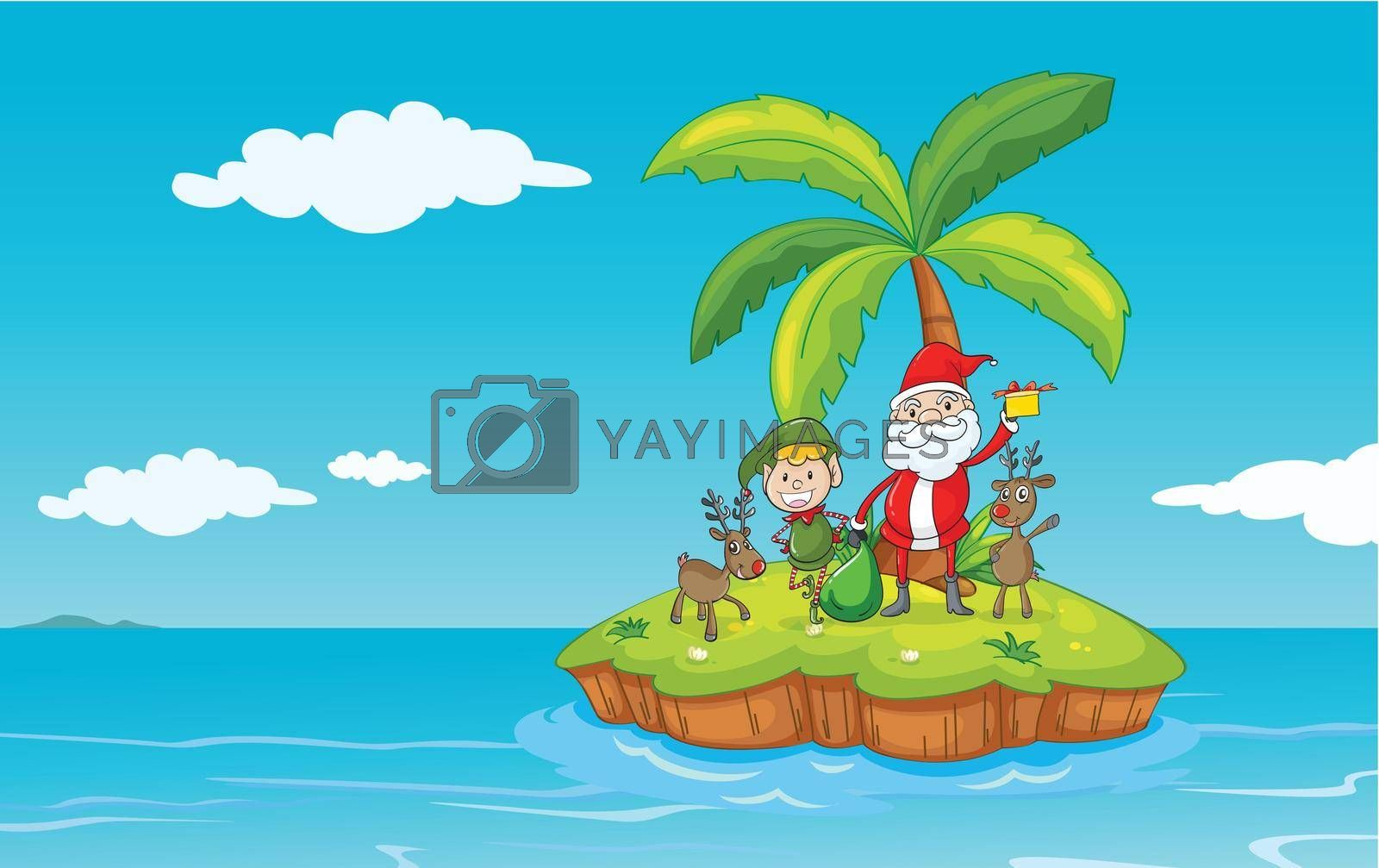 illustration of island in a beautiful nature