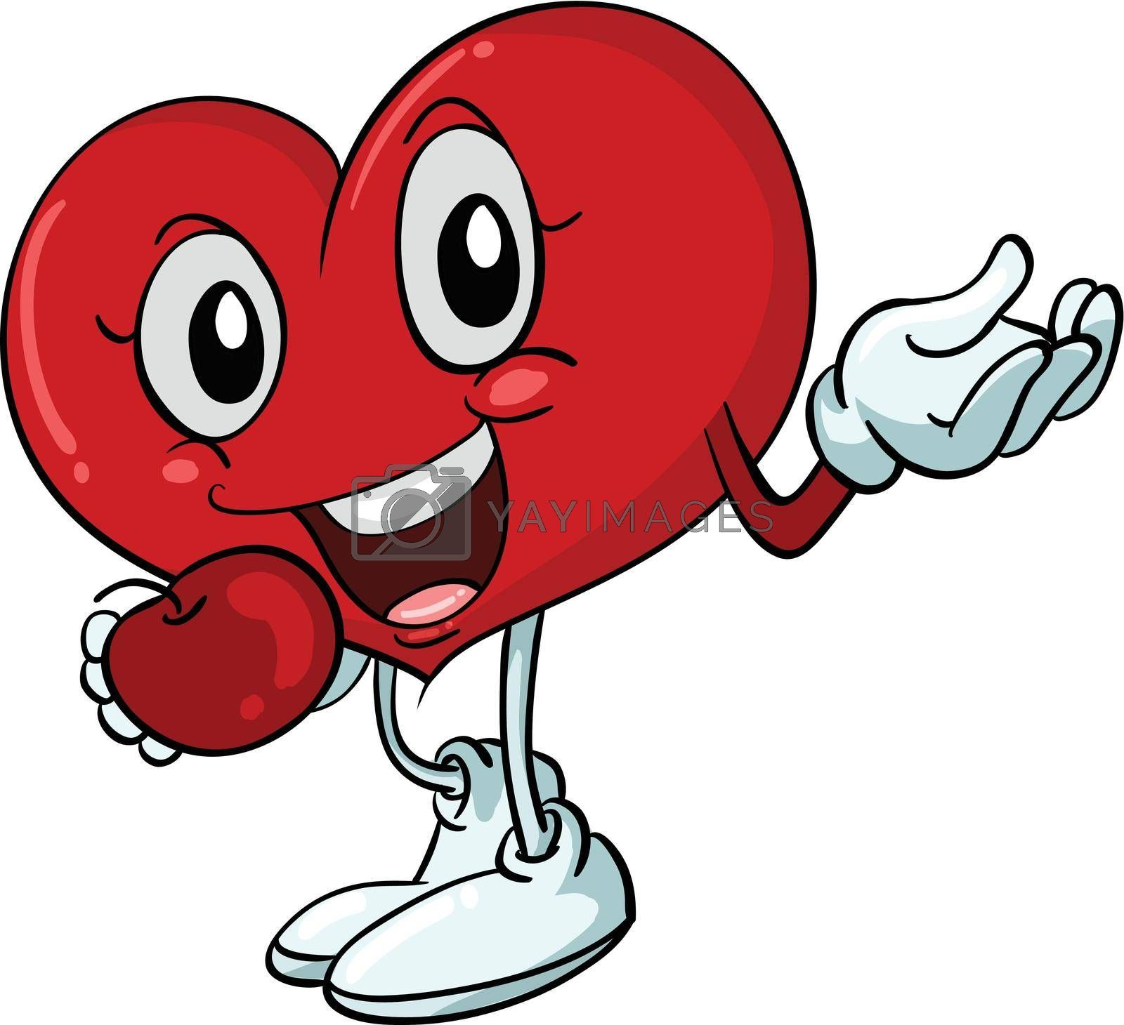 Illustration of a happy heart character