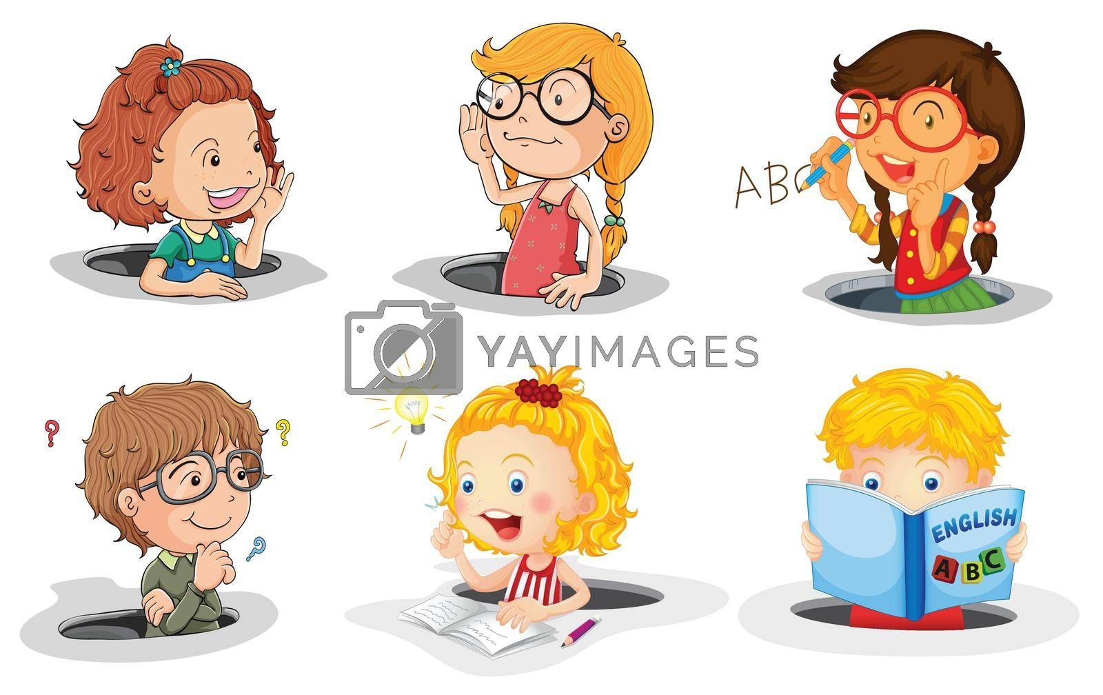 illustration of a kids in hole on a white background
