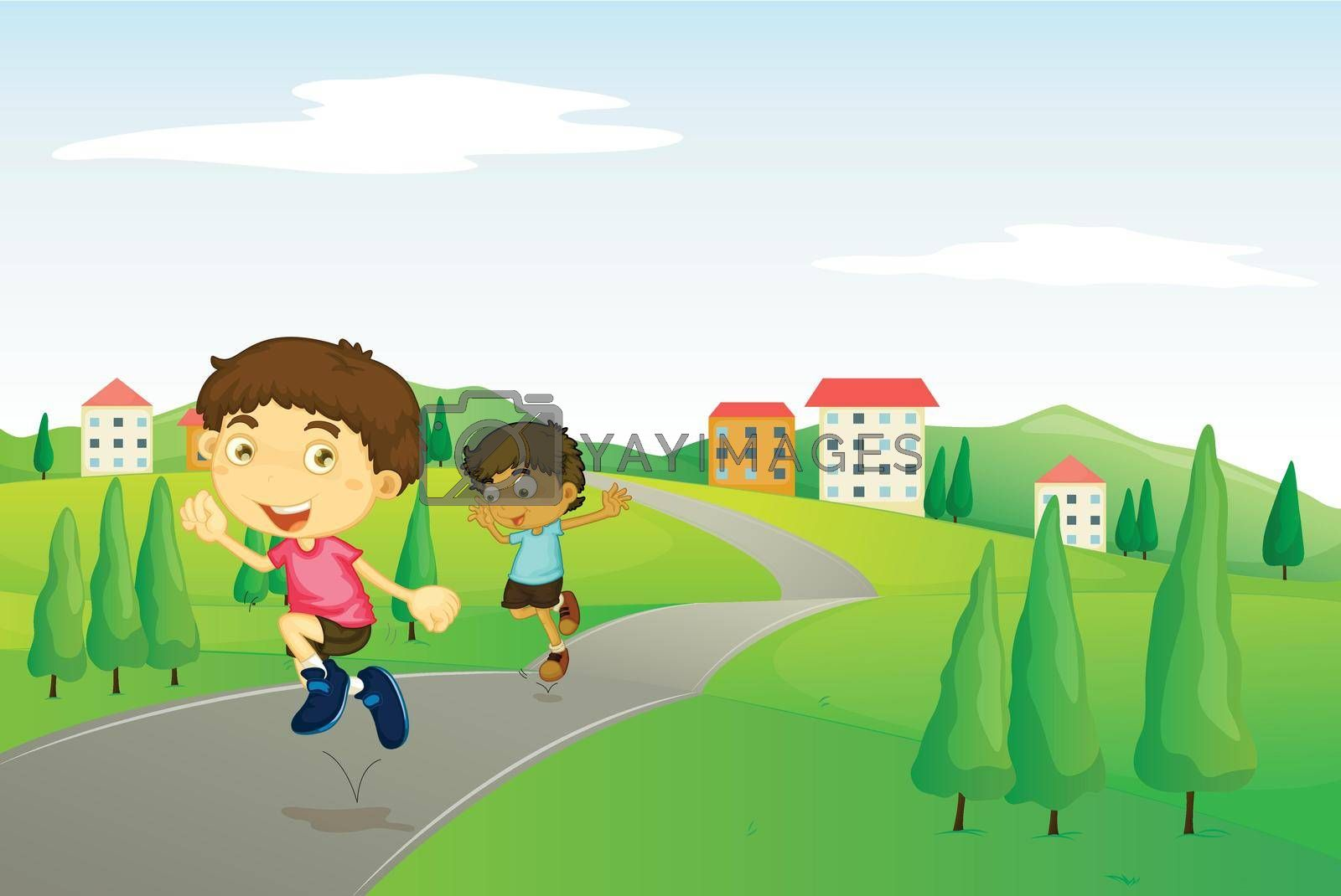 illustration of kids playing in green nature